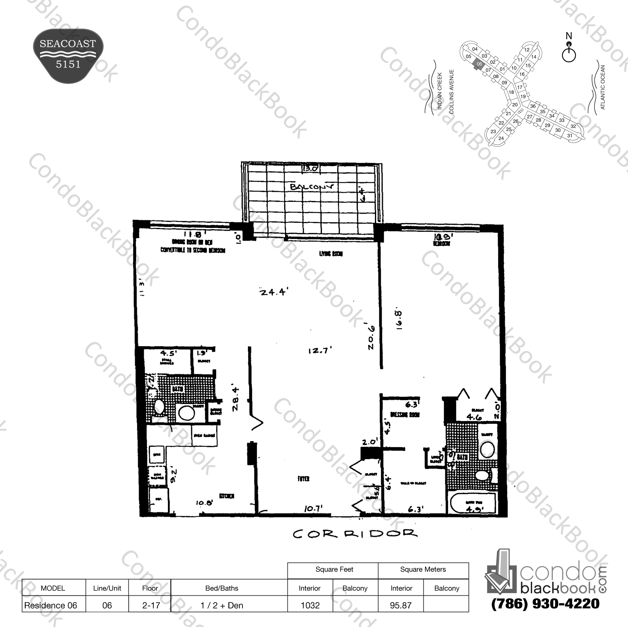 Floor plan for Seacoast 5151 Mid-Beach Miami Beach, model Residence 06, line 06, 1 / 2 + Den bedrooms, 1032 sq ft
