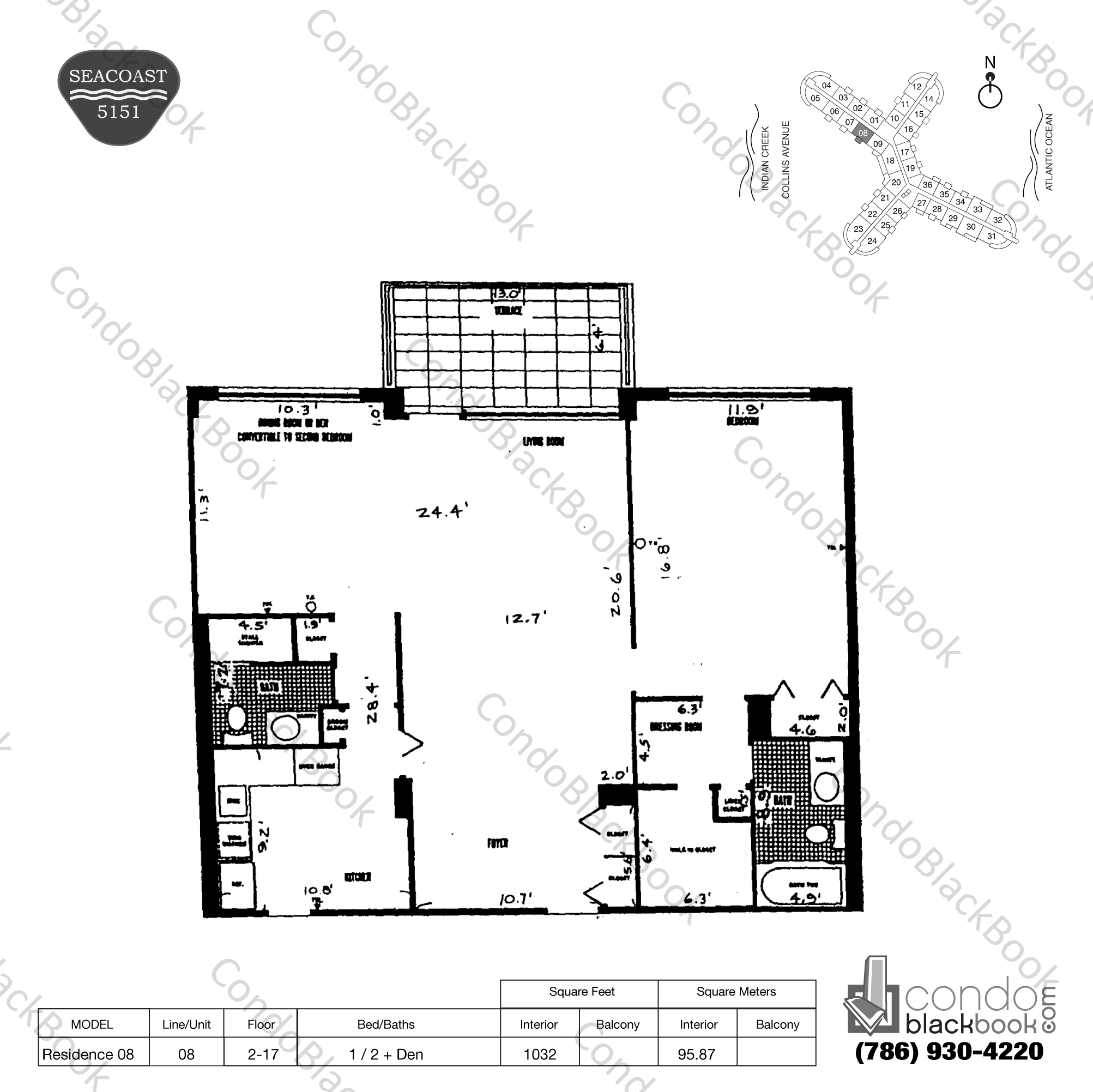 Floor plan for Seacoast 5151 Mid-Beach Miami Beach, model Residence 08, line 08, 1 / 2 + Den bedrooms, 1032 sq ft