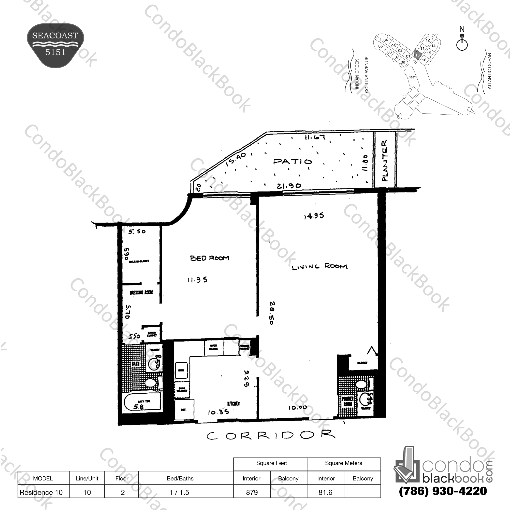 Floor plan for Seacoast 5151 Mid-Beach Miami Beach, model Residence 10, line 10, 1 / 1.5 bedrooms, 879 sq ft