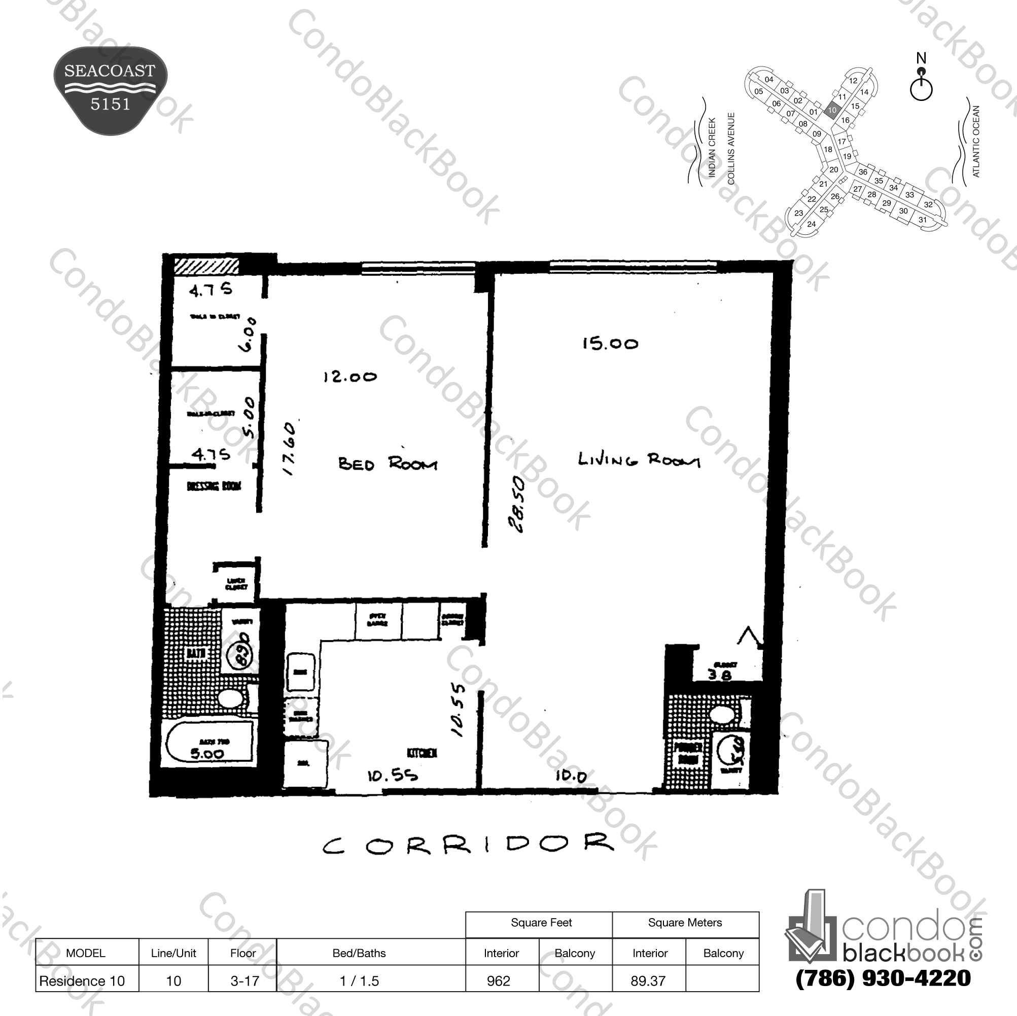 Floor plan for Seacoast 5151 Mid-Beach Miami Beach, model Residence 10, line 10, 1 / 1.5 bedrooms, 962 sq ft