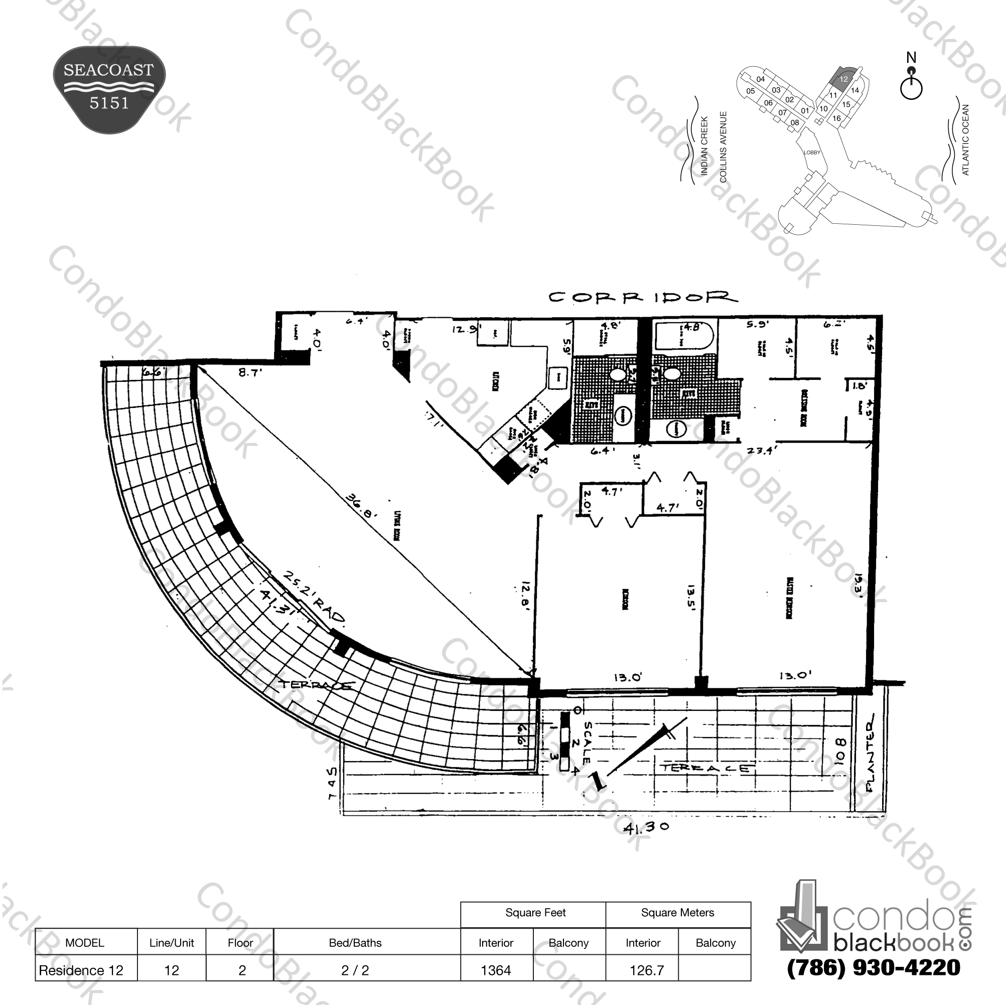 Floor plan for Seacoast 5151 Mid-Beach Miami Beach, model Residence 12, line 12, 2 / 2 bedrooms, 1364 sq ft