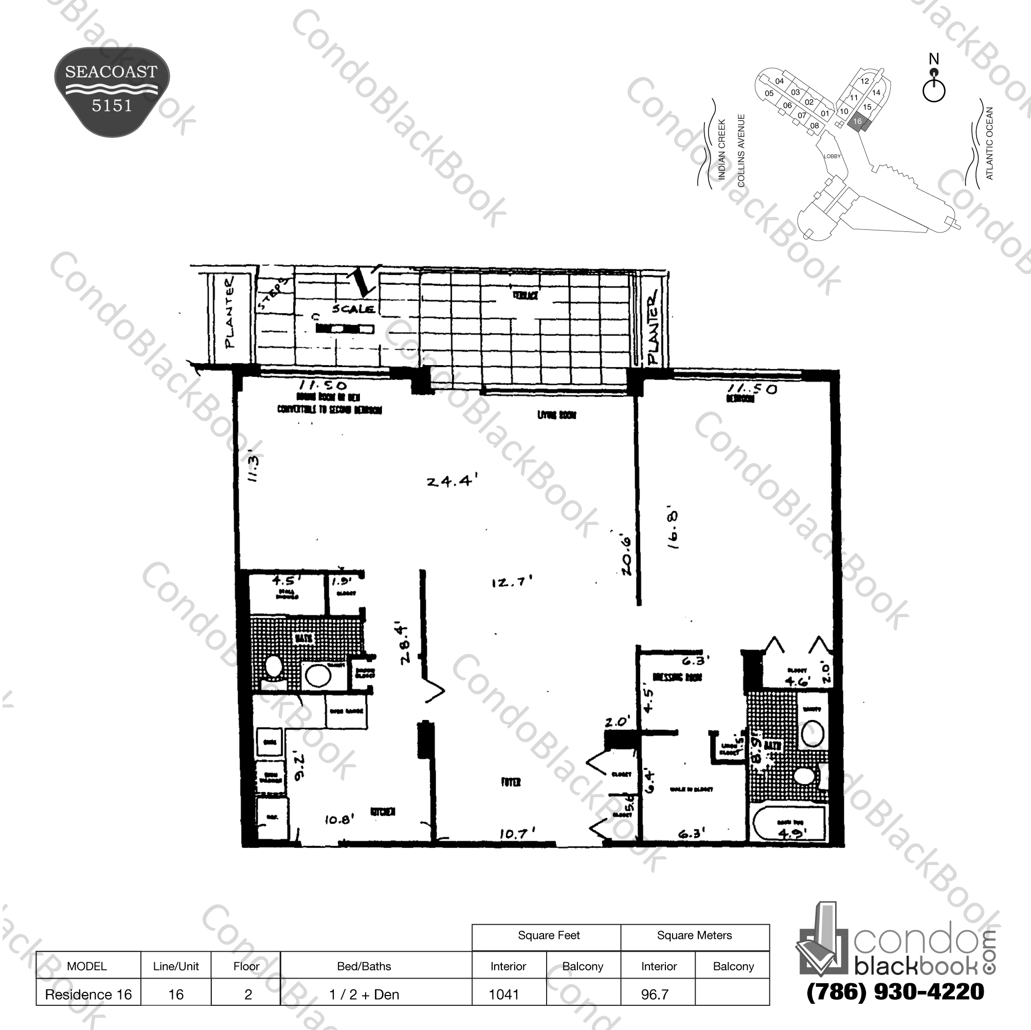Floor plan for Seacoast 5151 Mid-Beach Miami Beach, model Residence 16, line 16, 1 / 2 + Den bedrooms, 1041 sq ft