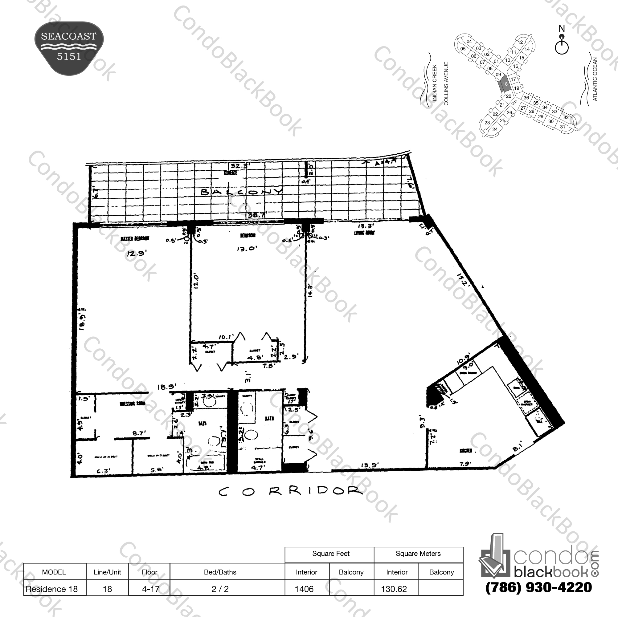 Floor plan for Seacoast 5151 Mid-Beach Miami Beach, model Residence 18, line 18, 2 / 2 bedrooms, 1406 sq ft