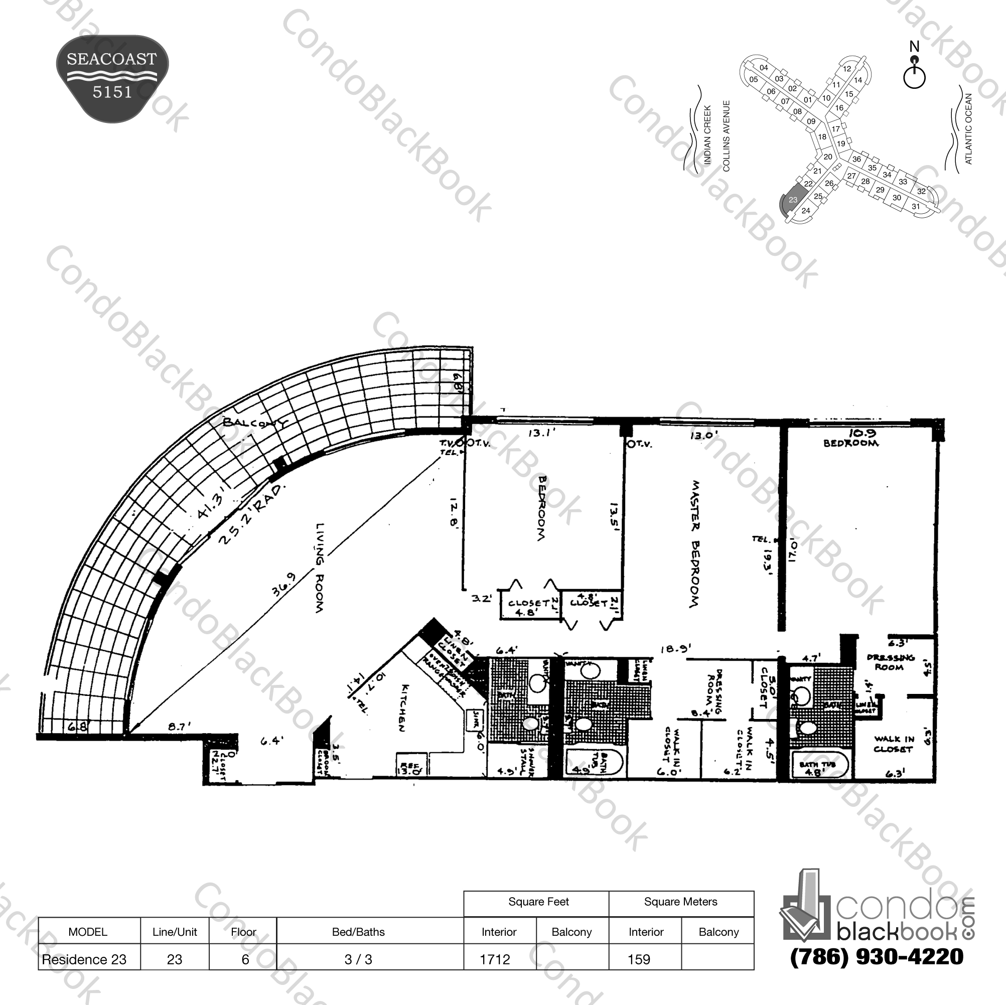 Floor plan for Seacoast 5151 Mid-Beach Miami Beach, model Residence 23, line 23, 3 / 3 bedrooms, 1712 sq ft