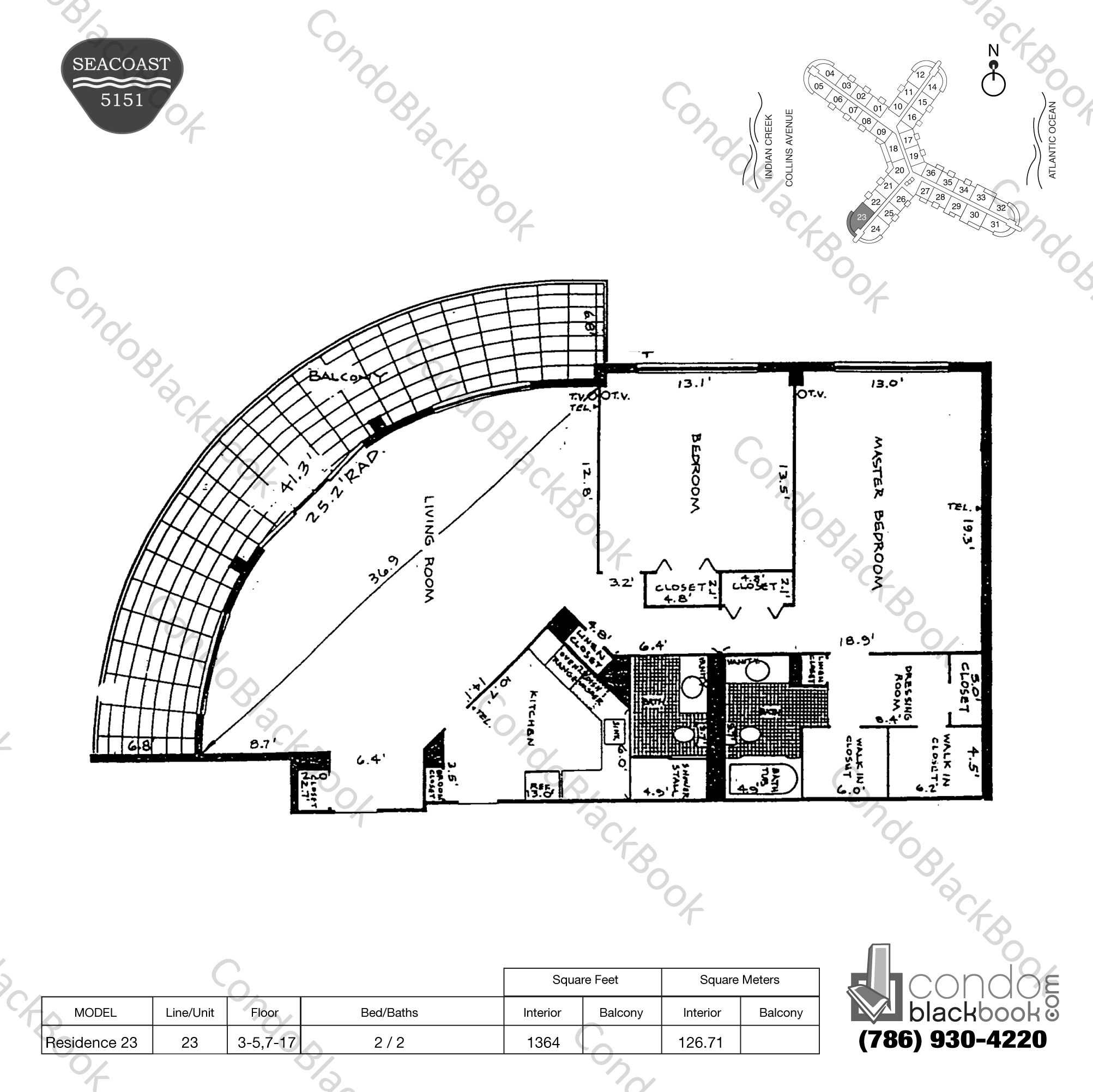 Floor plan for Seacoast 5151 Mid-Beach Miami Beach, model Residence 23, line 23, 2 / 2 bedrooms, 1364 sq ft