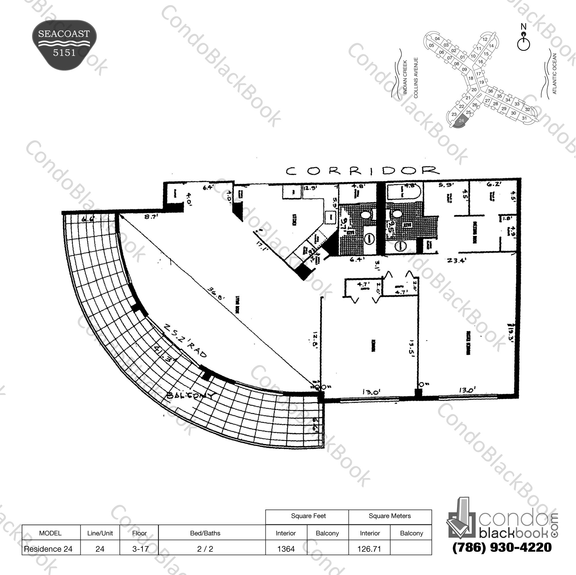 Floor plan for Seacoast 5151 Mid-Beach Miami Beach, model Residence 24, line 24, 2 / 2 bedrooms, 1364 sq ft
