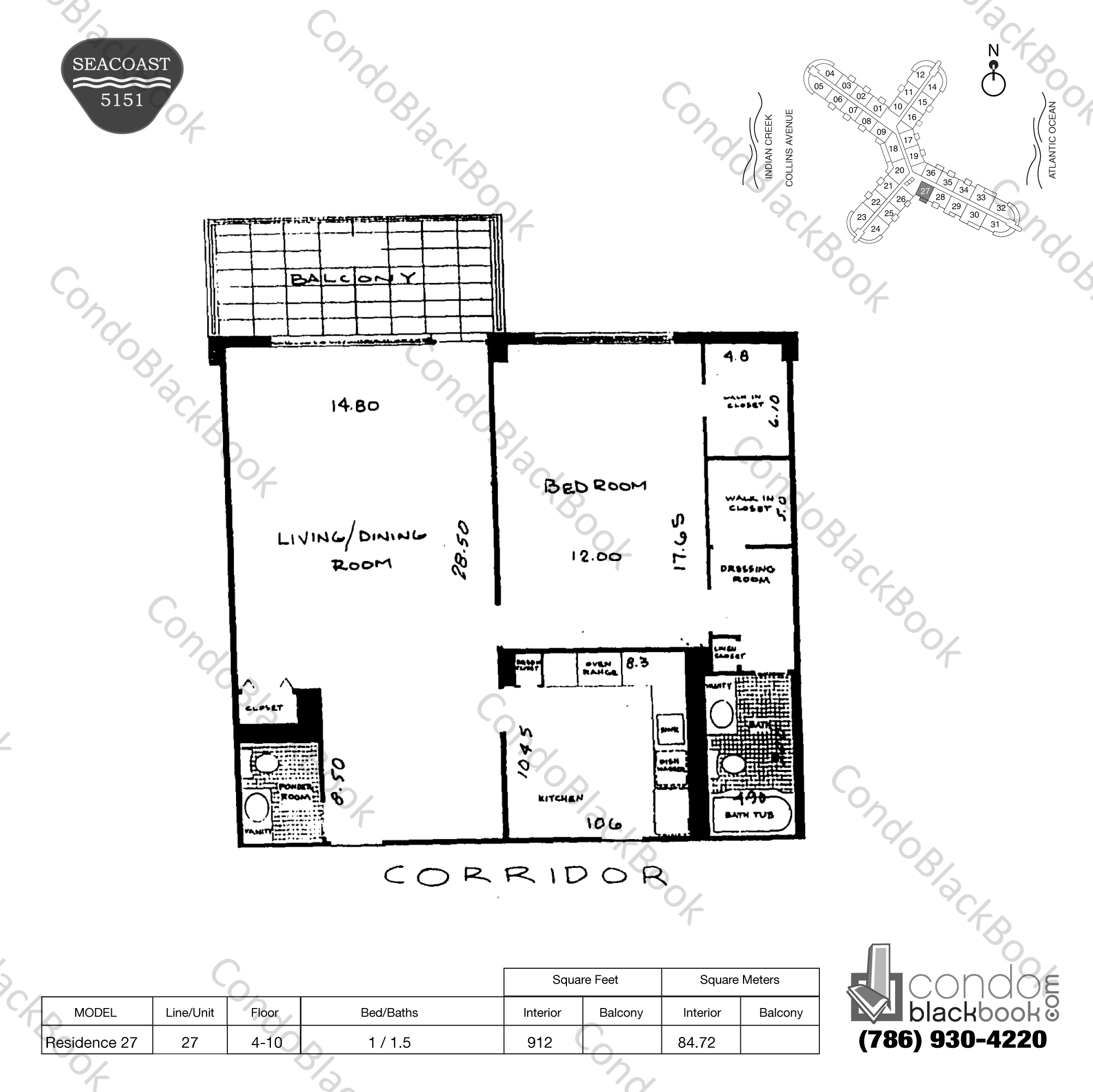 Floor plan for Seacoast 5151 Mid-Beach Miami Beach, model Residence 27, line 27, 1 / 1.5 bedrooms, 912 sq ft
