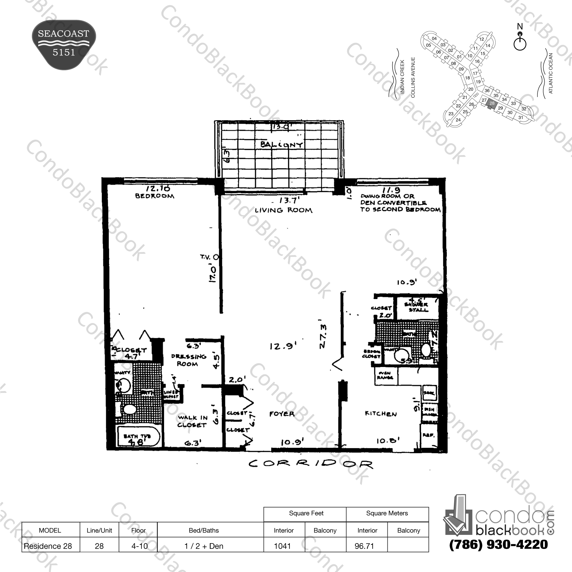 Floor plan for Seacoast 5151 Mid-Beach Miami Beach, model Residence 28, line 28, 1 / 2 + Den bedrooms, 1041 sq ft