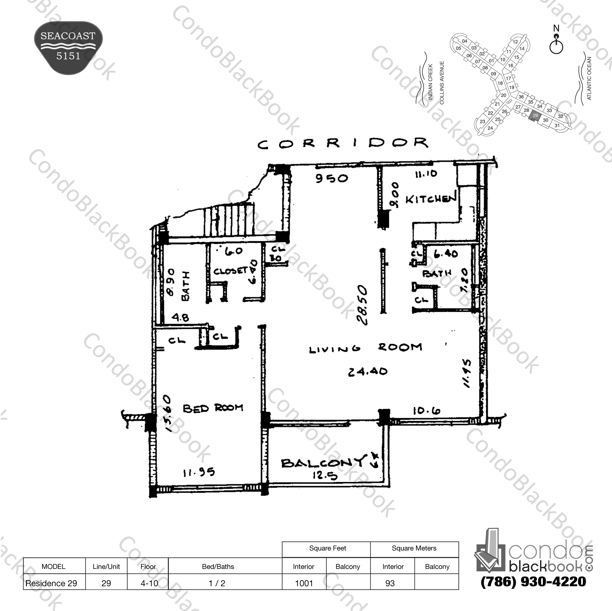 Floor plan for Seacoast 5151 Mid-Beach Miami Beach, model Residence 29, line 29, 1 / 2 bedrooms, 1001 sq ft