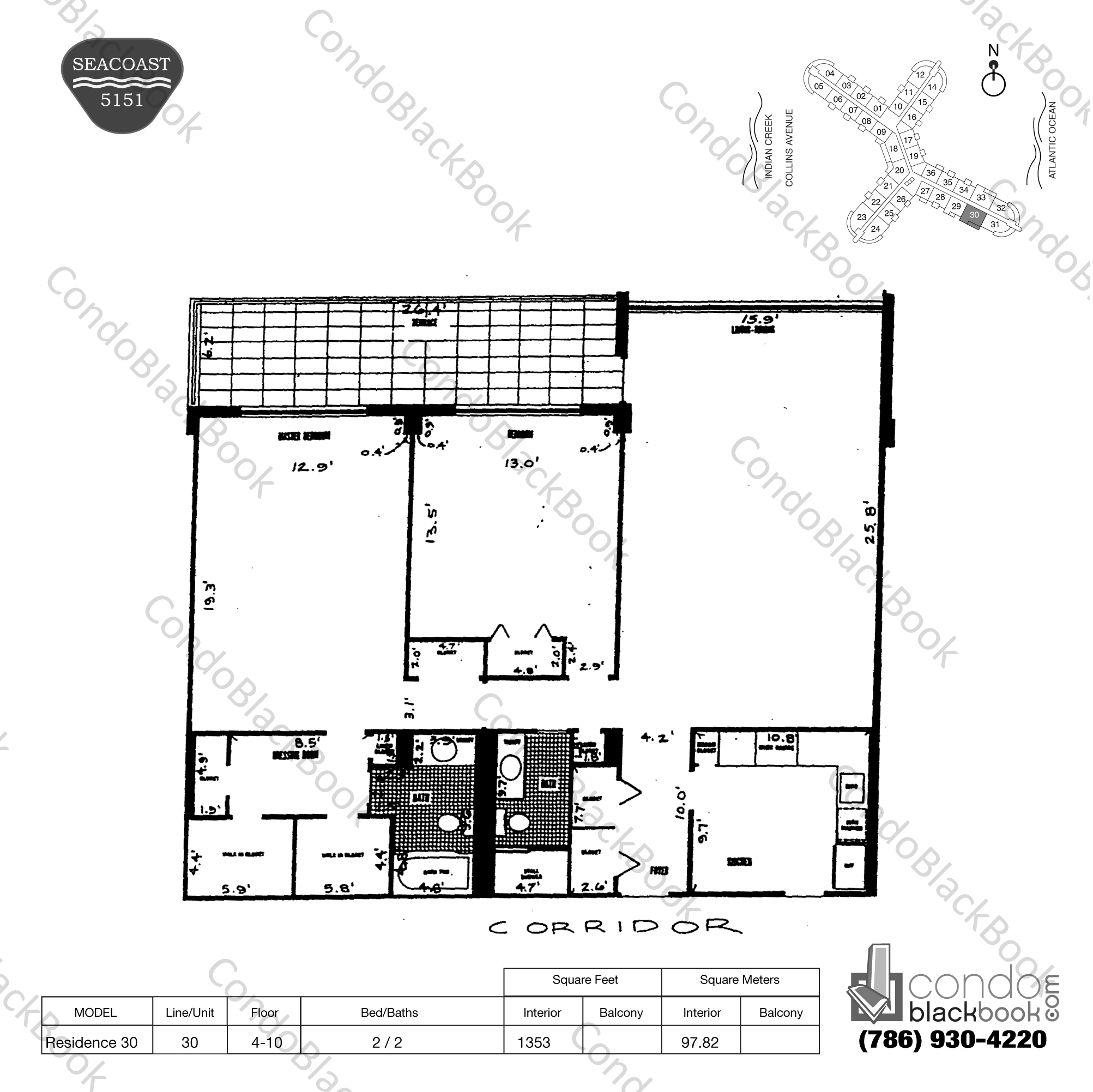 Floor plan for Seacoast 5151 Mid-Beach Miami Beach, model Residence 30, line 30, 2 / 2 bedrooms, 1353 sq ft