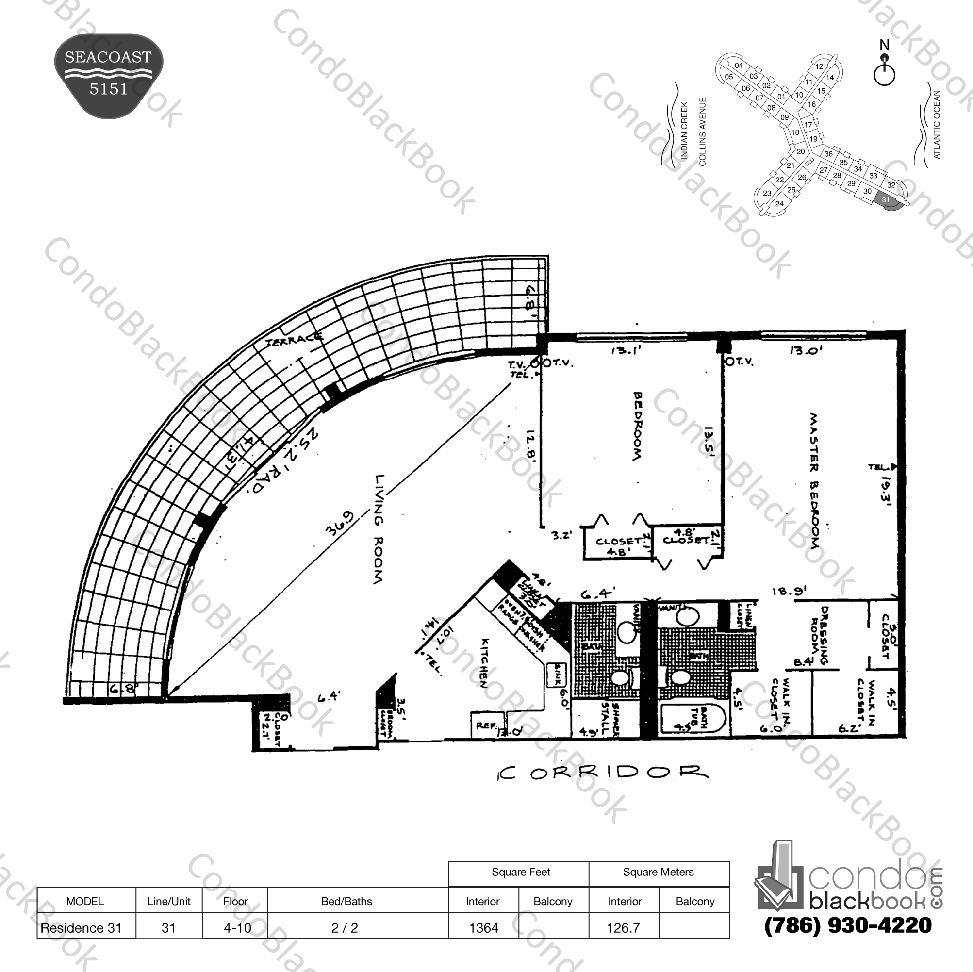 Floor plan for Seacoast 5151 Mid-Beach Miami Beach, model Residence 31, line 31, 2 / 2 bedrooms, 1364 sq ft
