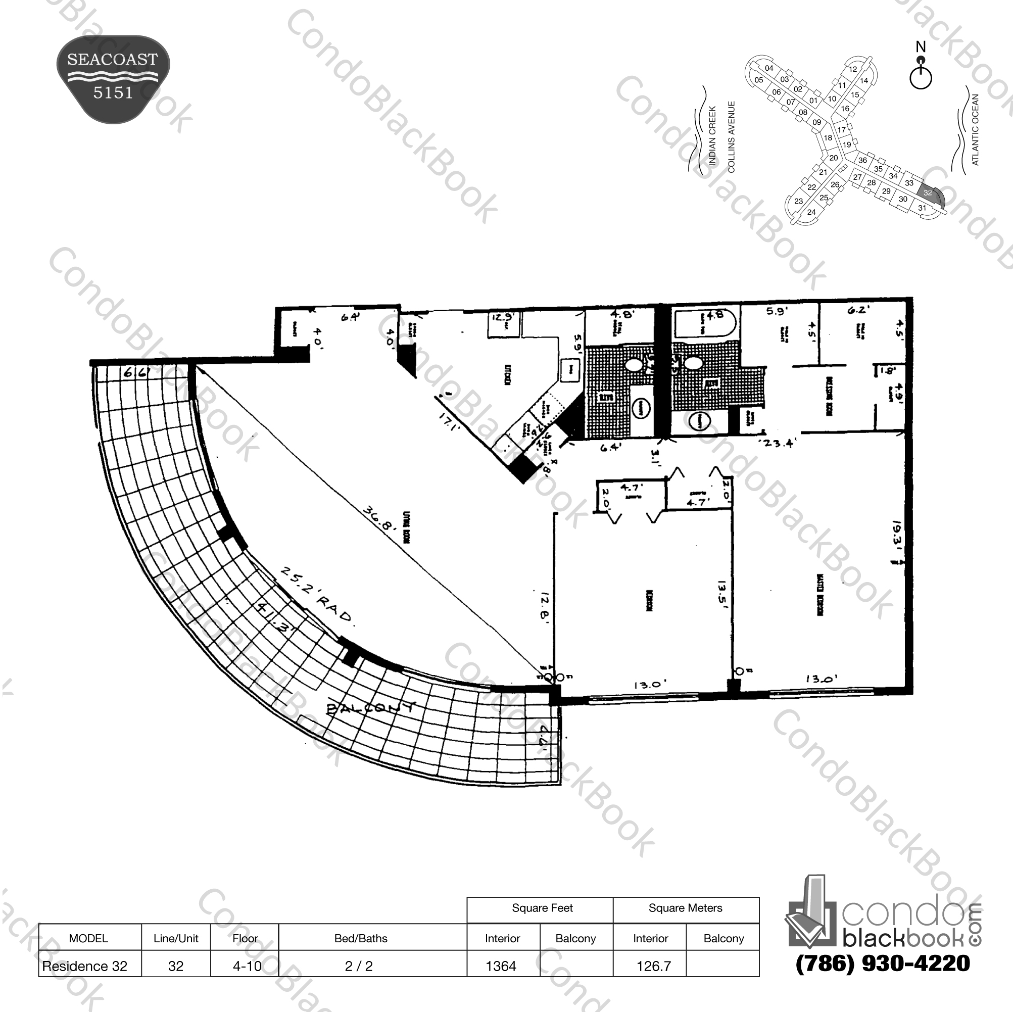 Floor plan for Seacoast 5151 Mid-Beach Miami Beach, model Residence 32, line 32, 2 / 2 bedrooms, 1364 sq ft