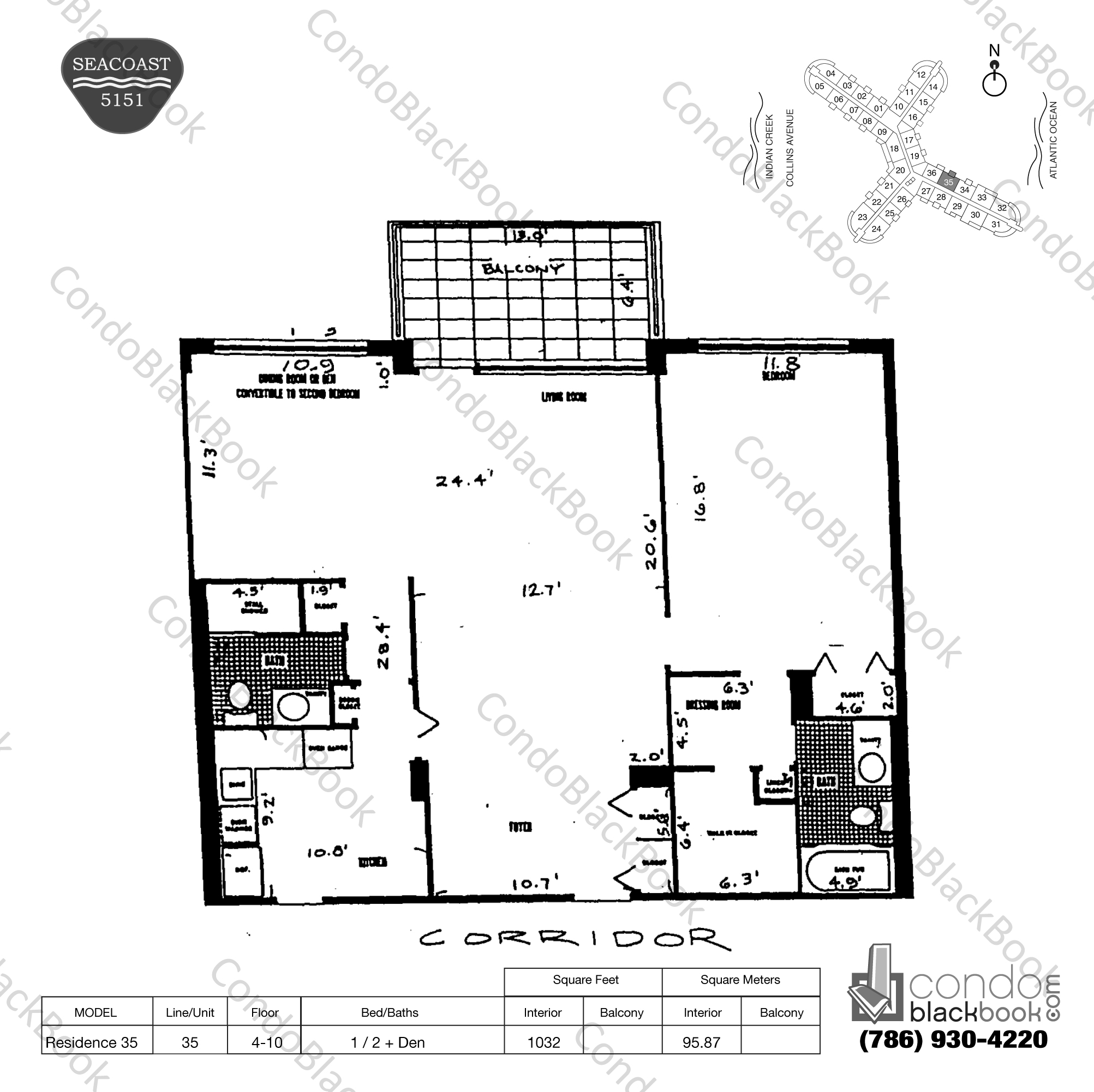 Floor plan for Seacoast 5151 Mid-Beach Miami Beach, model Residence 35, line 35, 1 / 2 + Den bedrooms, 1032 sq ft