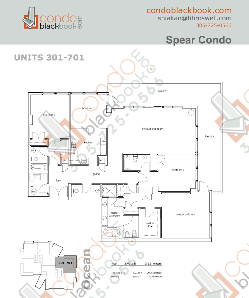Floor plan for Spear at Aqua Mid-Beach Miami Beach, model A, line 301 to 701, 3/3.5 bedrooms, 2,223 sq ft
