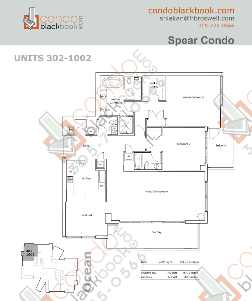 Floor plan for Spear at Aqua Mid-Beach Miami Beach, model B, line 302 to 1002, 2/2.5 bedrooms, 1,773 sq ft