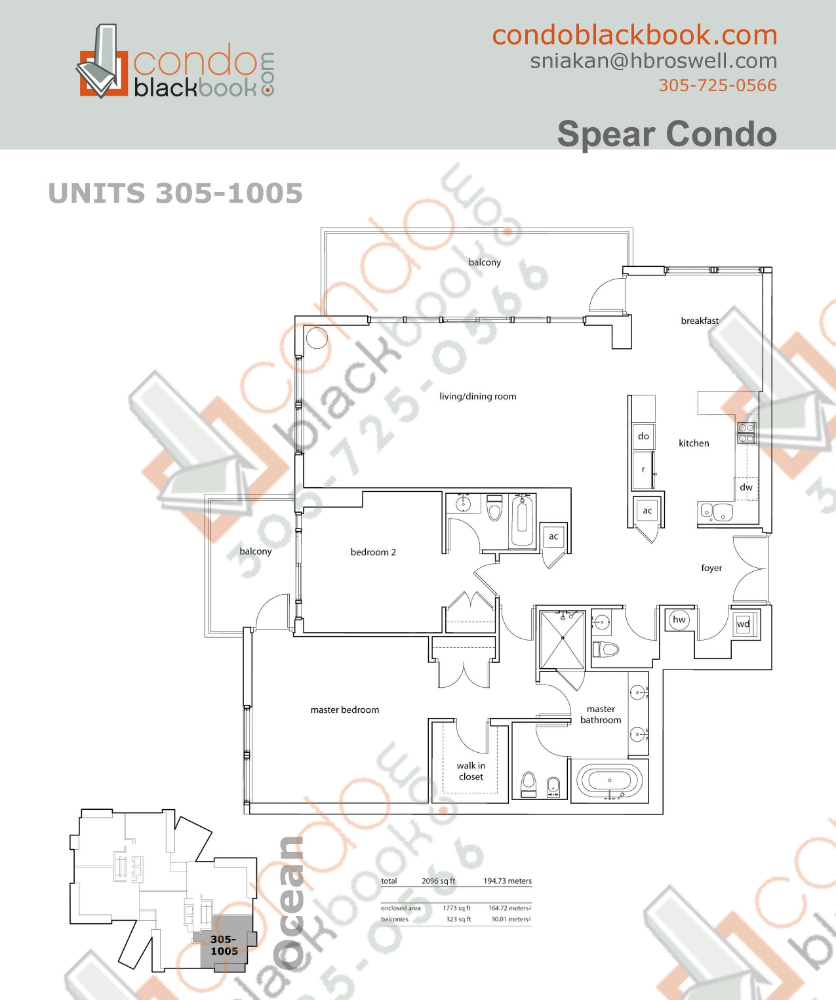 Floor plan for Spear at Aqua Mid-Beach Miami Beach, model E, line 305 to 1005, 2/2.5 bedrooms, 1,773 sq ft