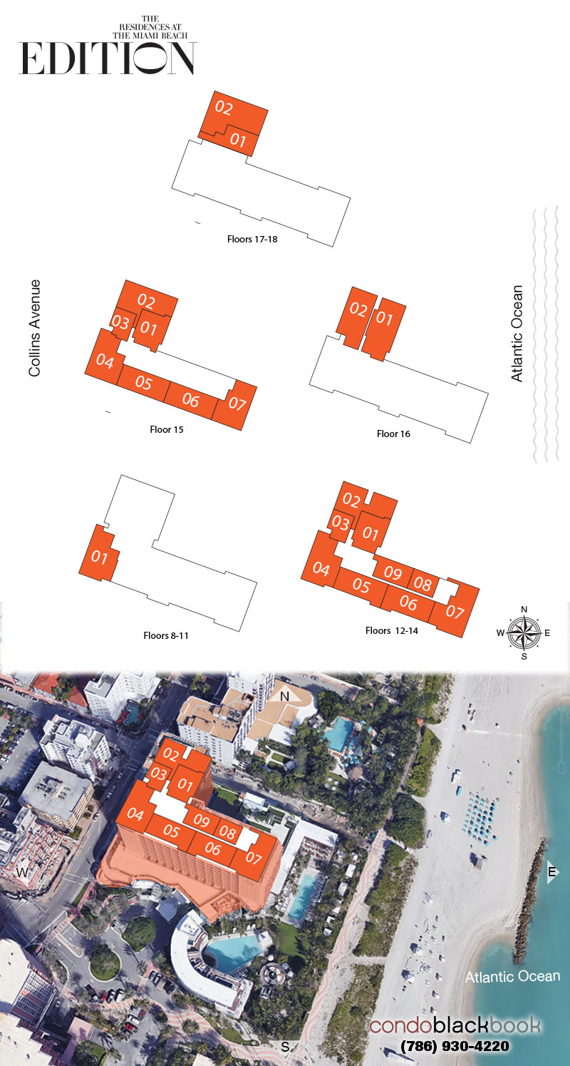 The Residences At The Miami Beach Edition floorplan and site plan