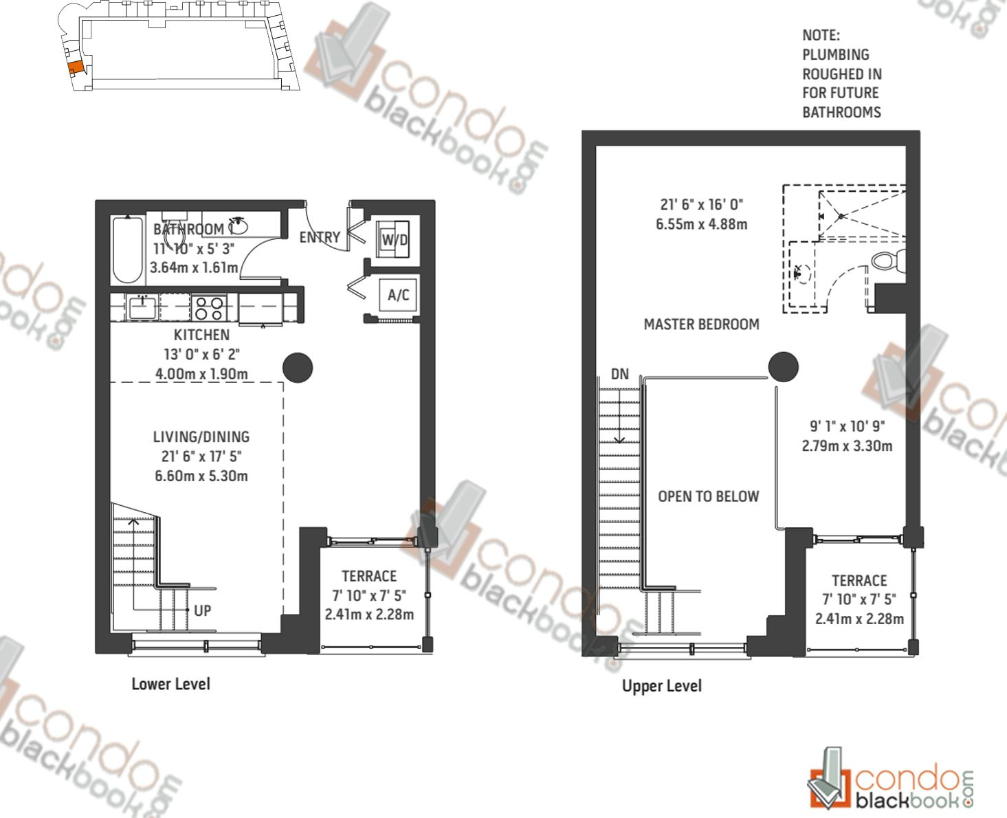 Floor plan for Midblock Condominium Midtown Miami, model Unit L2, line 02, 0/1 bedrooms, 1,250 sq ft