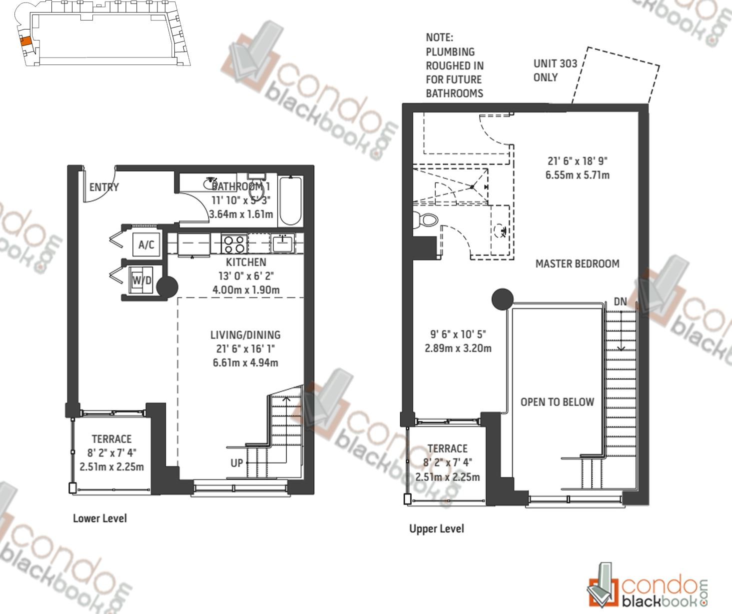 Floor plan for Midblock Condominium Midtown Miami, model Unit L3, line 03, 0/1 bedrooms, 1,272 sq ft