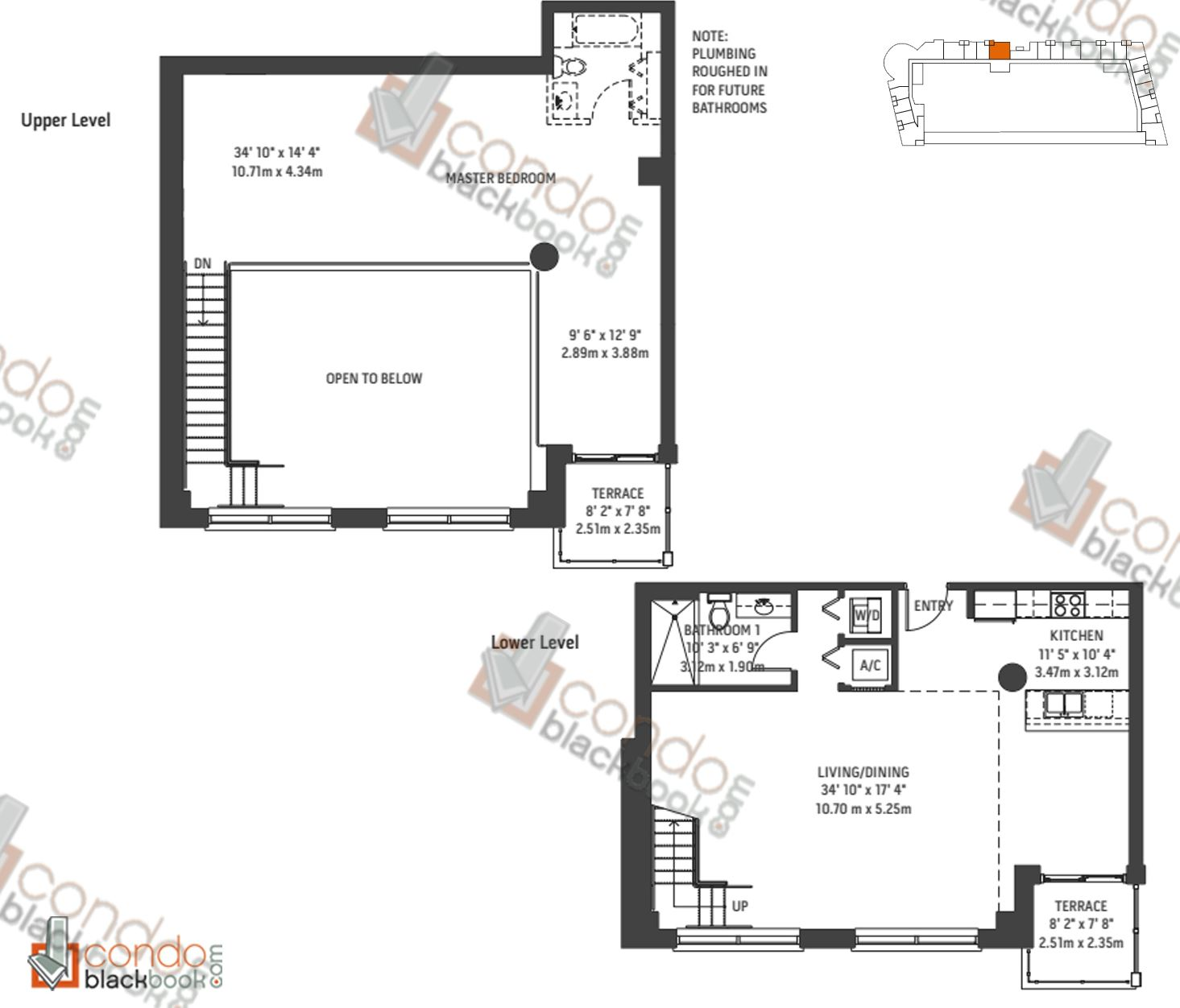 Floor plan for Midblock Condominium Midtown Miami, model Unit L5, line 05, 0/1 bedrooms, 1,664 sq ft