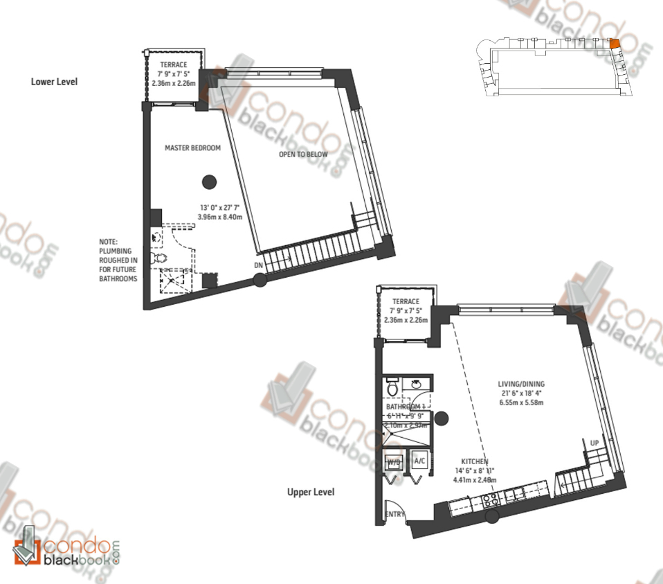 Floor plan for Midblock Condominium Midtown Miami, model Unit L7, line 07, 0/1 bedrooms, 1,360 sq ft