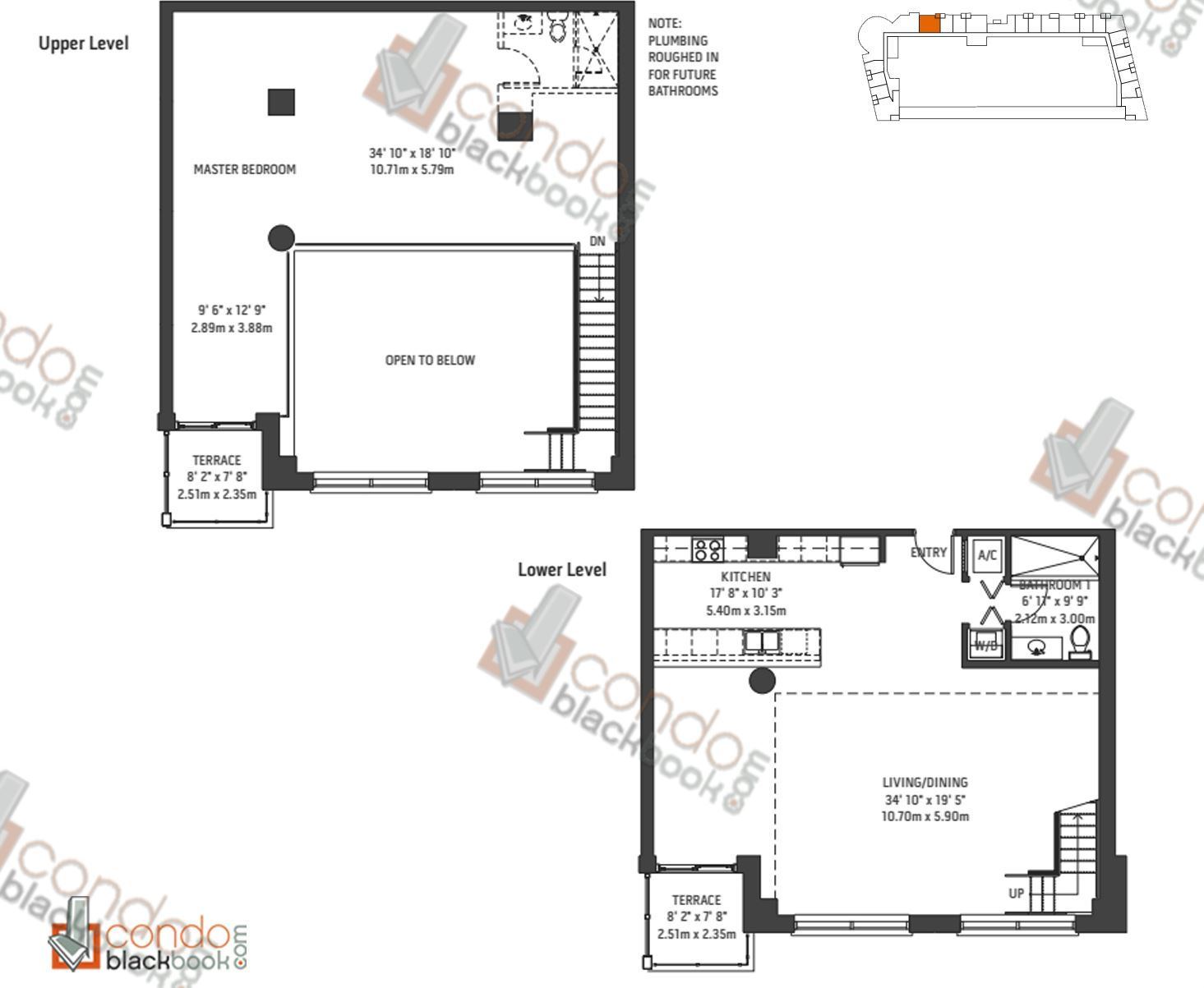 Floor plan for Midblock Condominium Midtown Miami, model Unit L8, line 08, 0/1 bedrooms, 1,954 sq ft