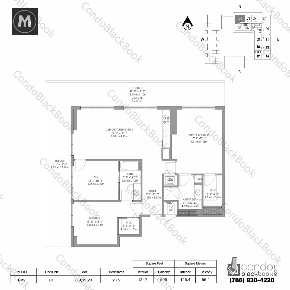Floor plan for Midtown 2 Midtown Miami, model T-A2, line 01, 2 / 2 bedrooms, 1242 sq ft