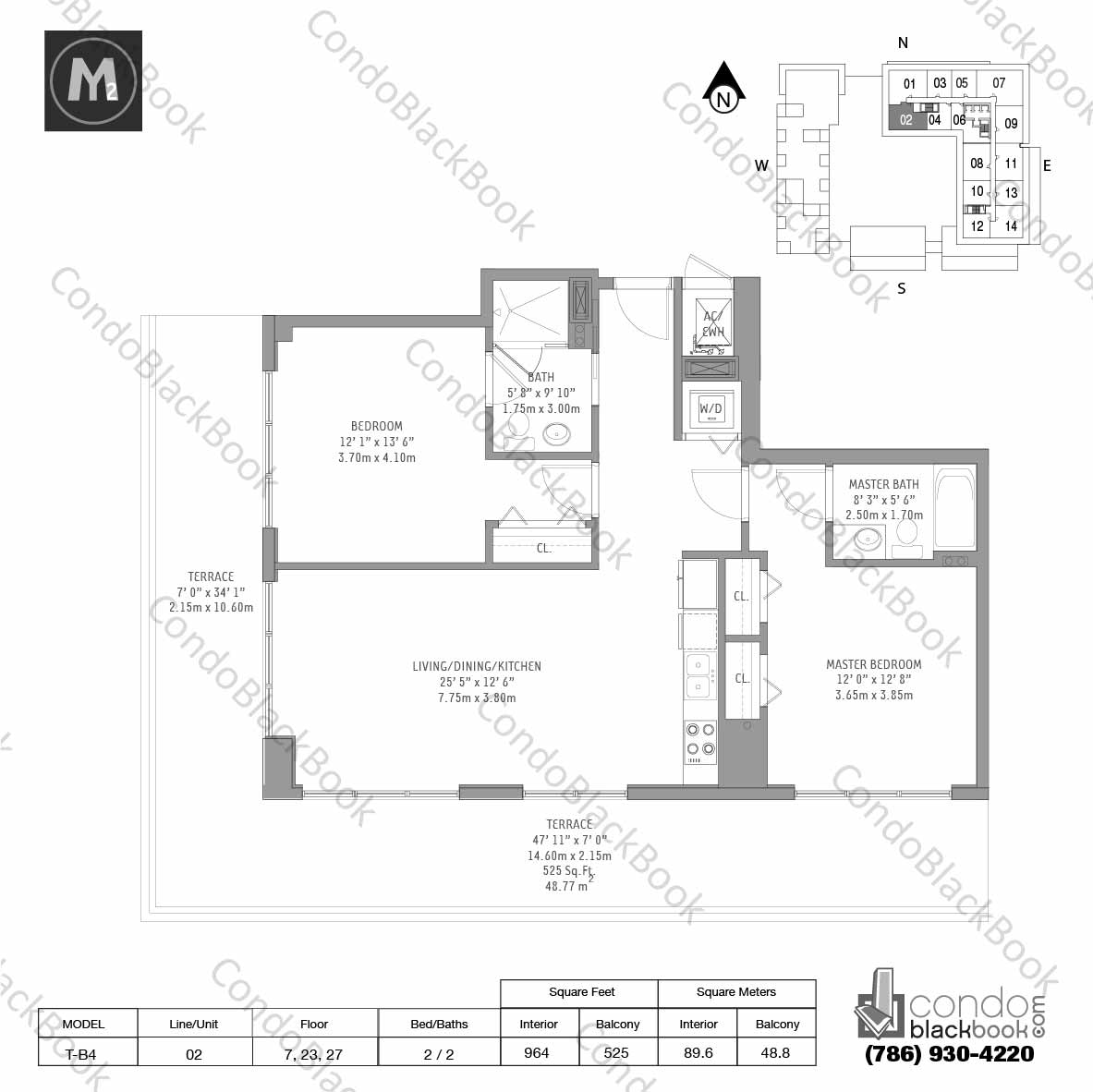 Floor plan for Midtown 2 Midtown Miami, model T-B4, line 02, 2 / 2 bedrooms, 964 sq ft
