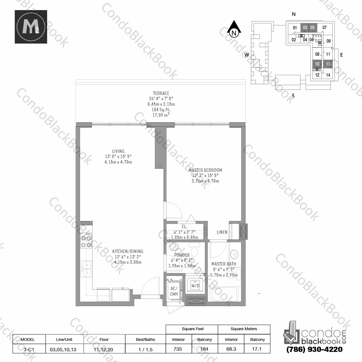 Floor plan for Midtown 2 Midtown Miami, model T-C1, line 03,05,10,13, 1 / 1.5 bedrooms, 735 sq ft