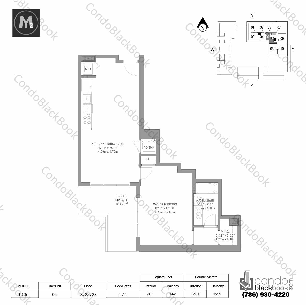 Floor plan for Midtown 2 Midtown Miami, model T-C5, line 06,  1 / 1 bedrooms, 701 sq ft