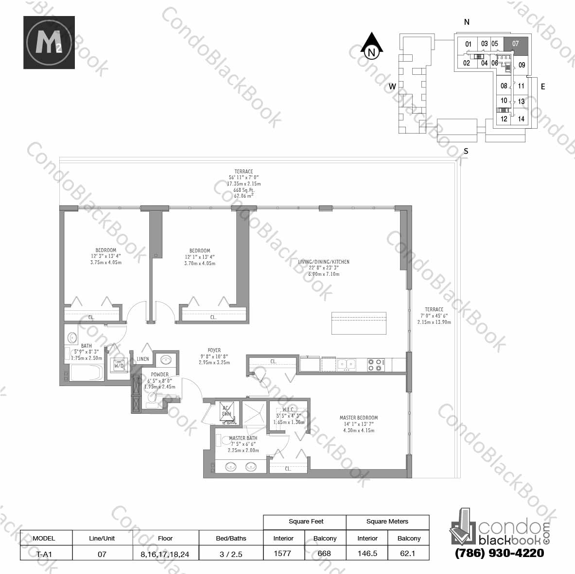 Floor plan for Midtown 2 Midtown Miami, model T-A1, line 07, 3 / 2.5 bedrooms, 1577 sq ft