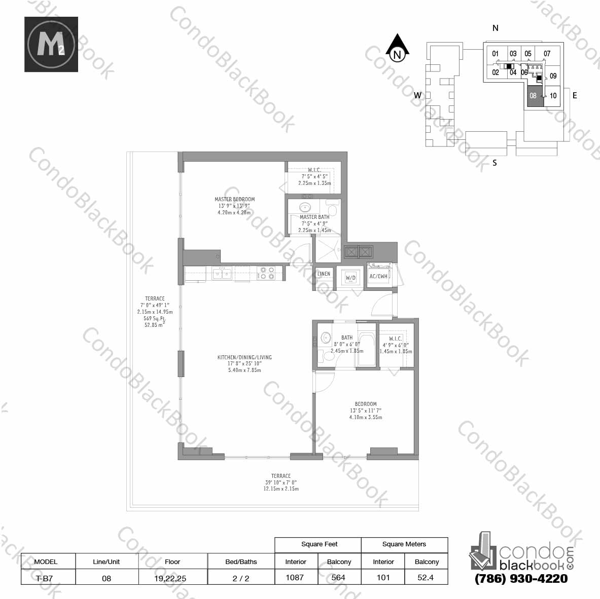 Floor plan for Midtown 2 Midtown Miami, model T-B7, line 08, 2 / 2 bedrooms, 1087 sq ft