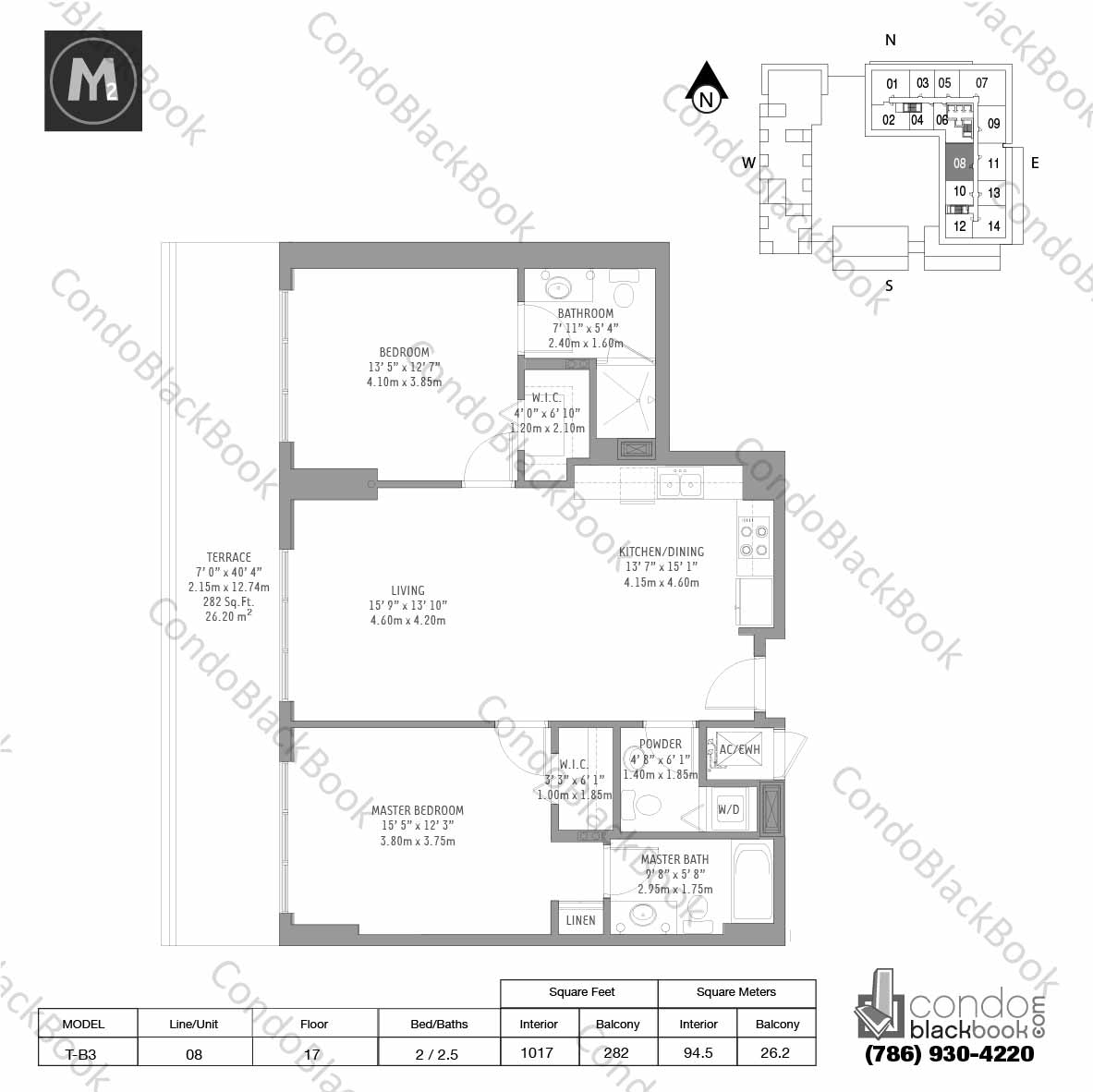 Floor plan for Midtown 2 Midtown Miami, model T-B3, line 08, 2 / 2.5 bedrooms, 1017 sq ft