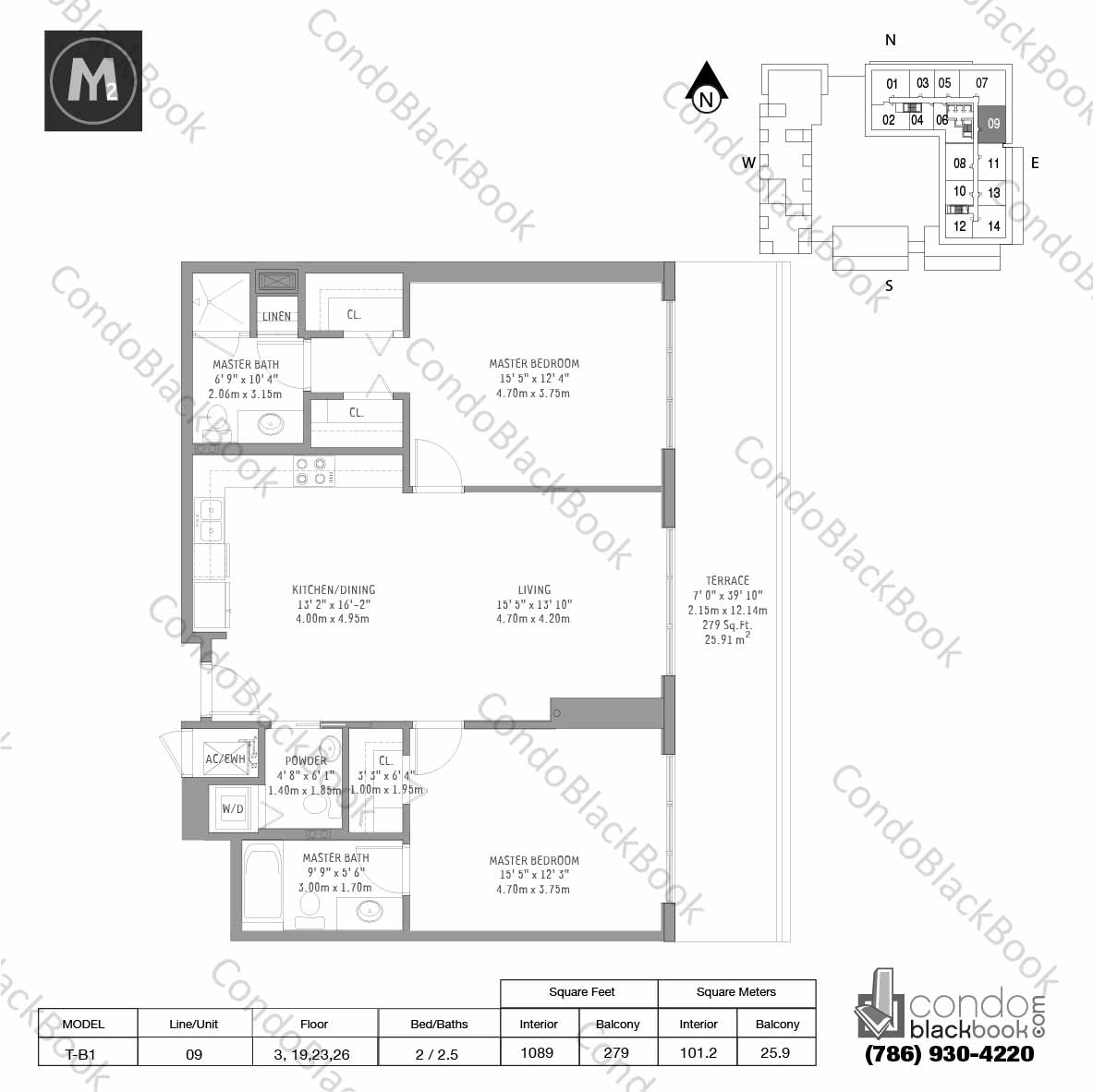 Floor plan for Midtown 2 Midtown Miami, model T-B1, line 09, 2 / 2.5 bedrooms, 1089 sq ft