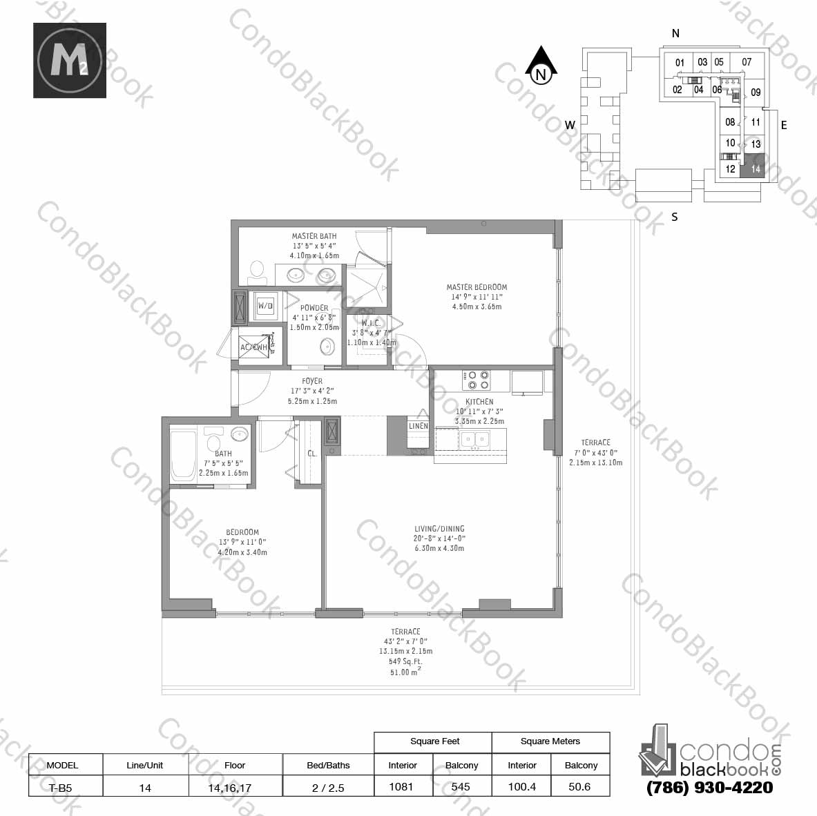 Floor plan for Midtown 2 Midtown Miami, model T-B5, line 14, 2 / 2.5 bedrooms, 1081 sq ft