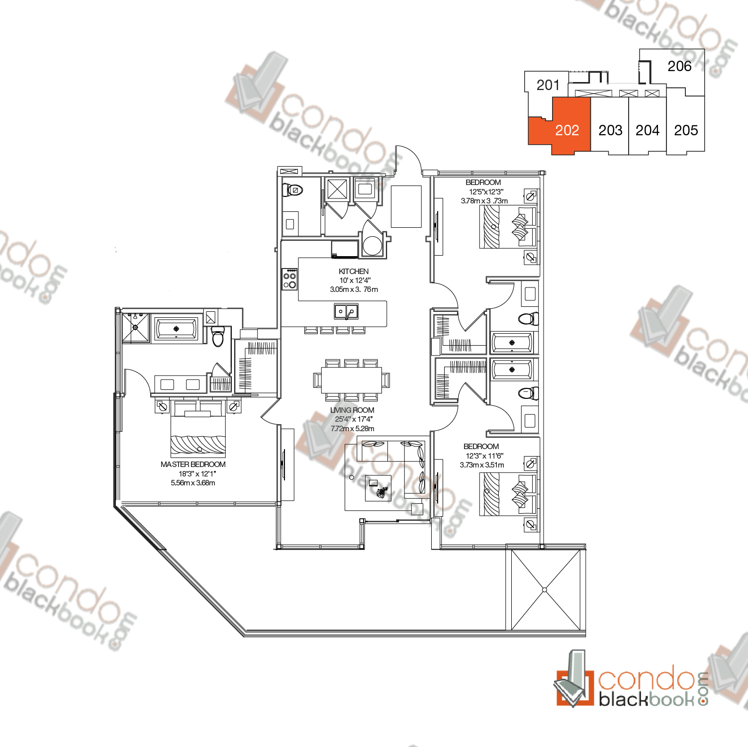 Floor plan for Buena Vista Villas Design District / Buena Vista Miami, model Unit 202, line 02, 3/3.5 bedrooms, 1,764 sq ft