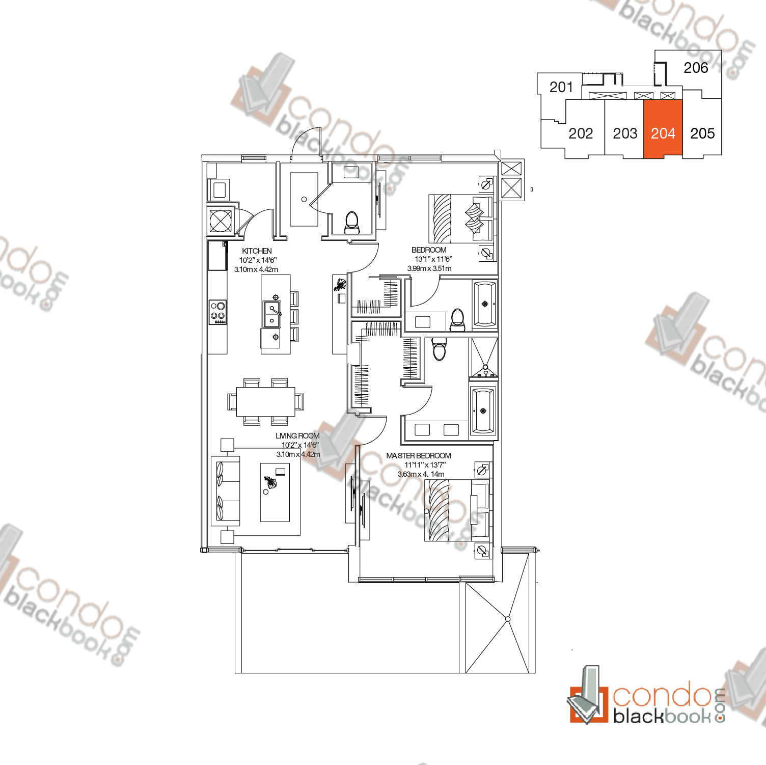 Floor plan for Buena Vista Villas Design District / Buena Vista Miami, model Unit 204, line 04, 2/2.5 bedrooms, 1,283 sq ft