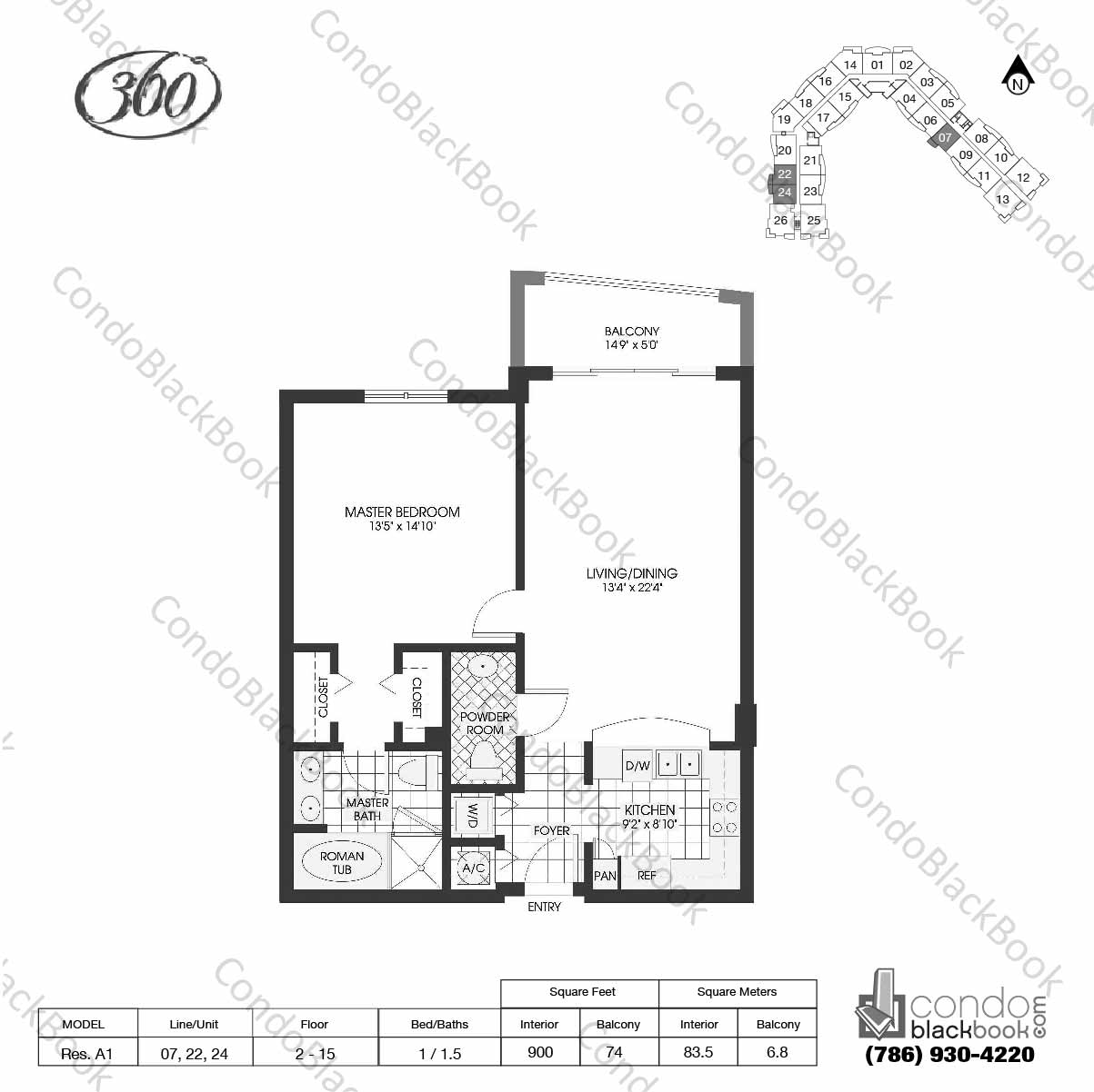 Floor plan for 360 Condo North Bay Village, model Res. A1, line 07, 22, 24, 1 / 1.5 bedrooms, 900 sq ft