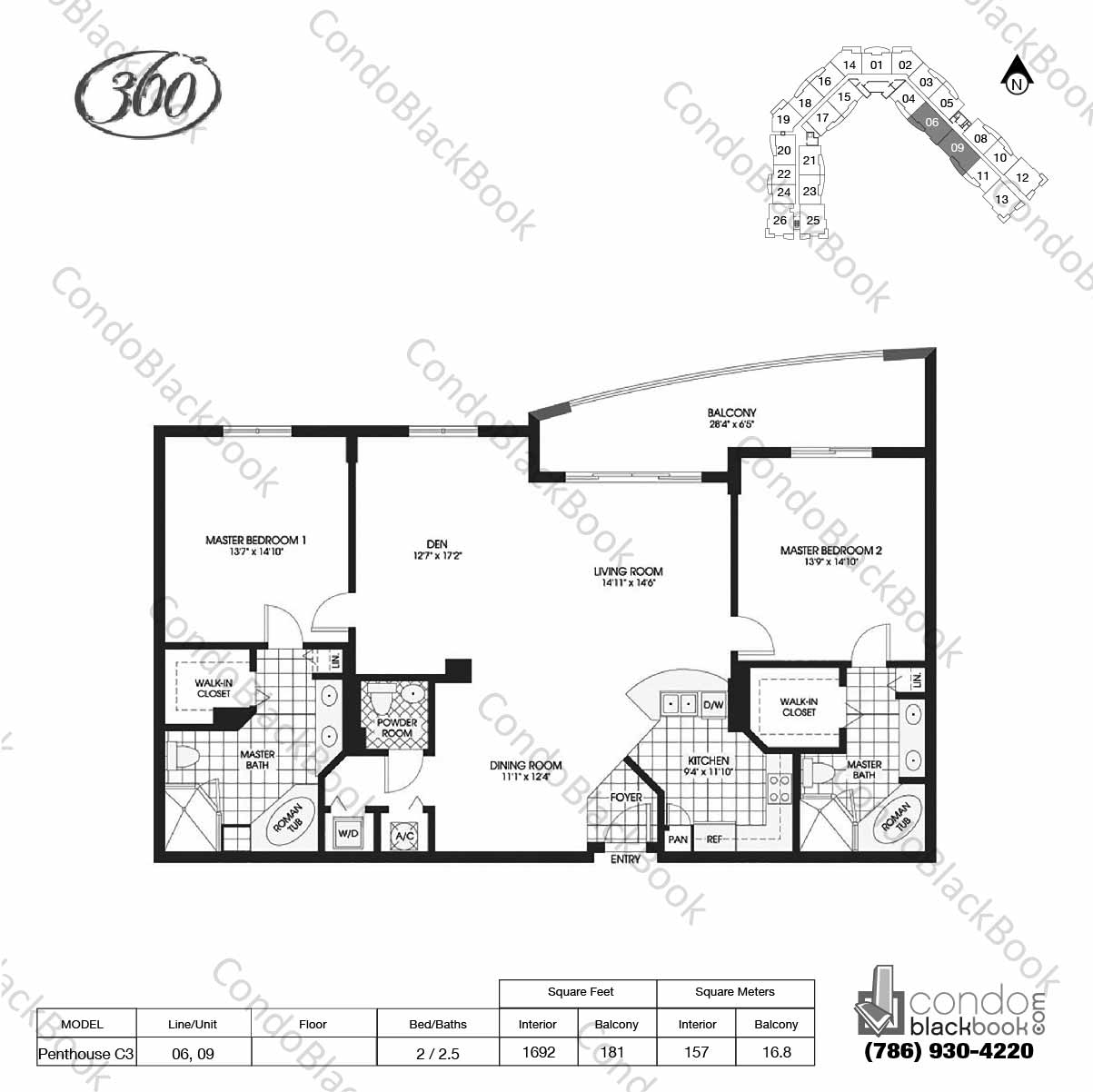 Floor plan for 360 Condo North Bay Village, model Penthouse C3, line 06, 09, 2 / 2.5 bedrooms, 1692 sq ft