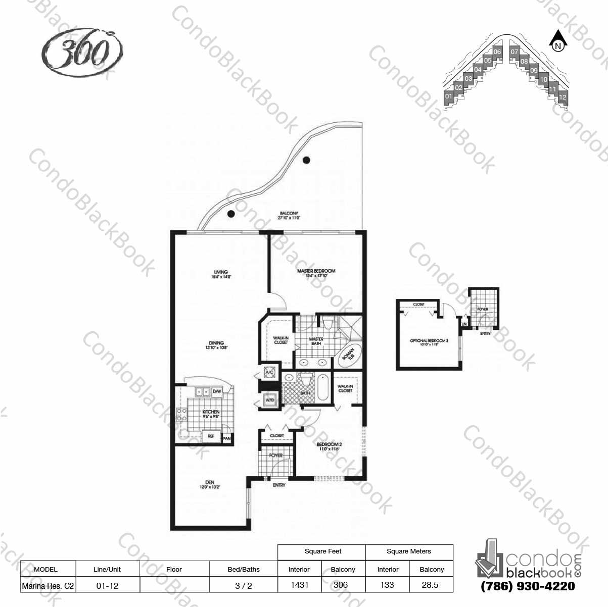 Floor plan for 360 Condo North Bay Village, model Marina Res. C2, line 01 - 12,  3 / 2 bedrooms, 1431 sq ft