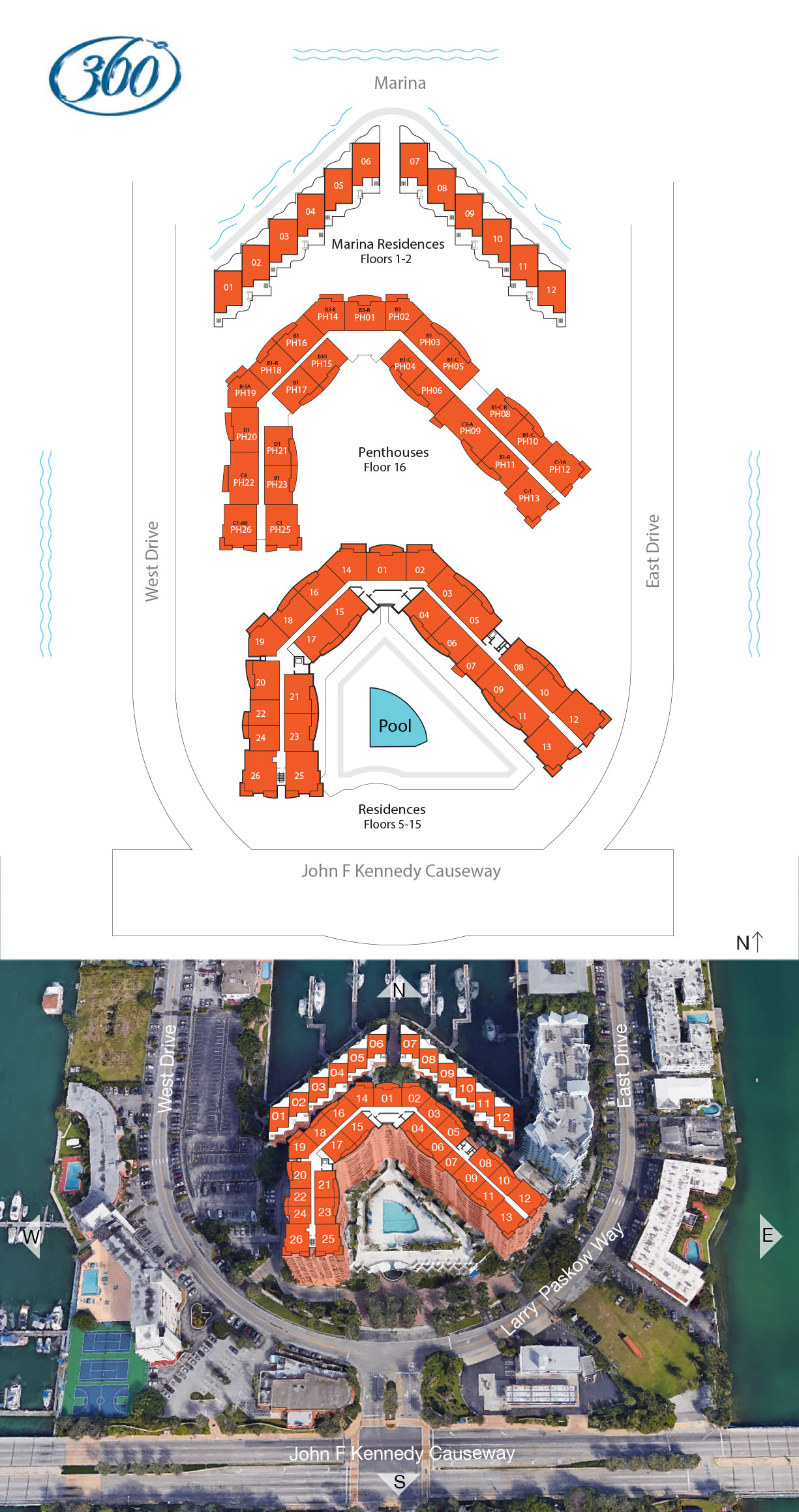 360 Condo floorplan and site plan