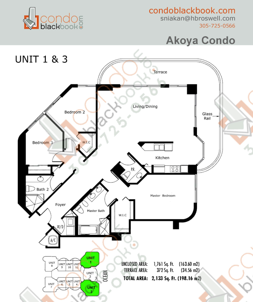 Floor plan for Akoya North Beach Miami Beach, model A, line 01, 03, 3/2.5 bedrooms, 1,761 sq ft