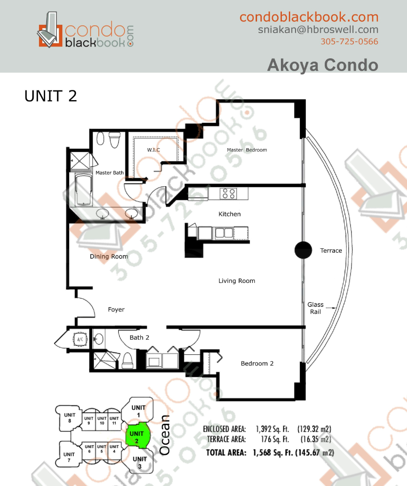 Floor plan for Akoya North Beach Miami Beach, model B, line 02, 2/2 bedrooms, 1,392 sq ft