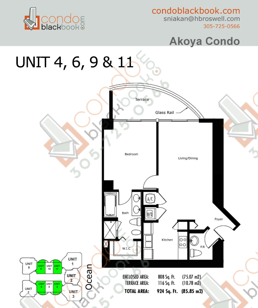 Floor plan for Akoya North Beach Miami Beach, model C, line 04, 06, 09, 11, 1/1.5 bedrooms, 808 sq ft