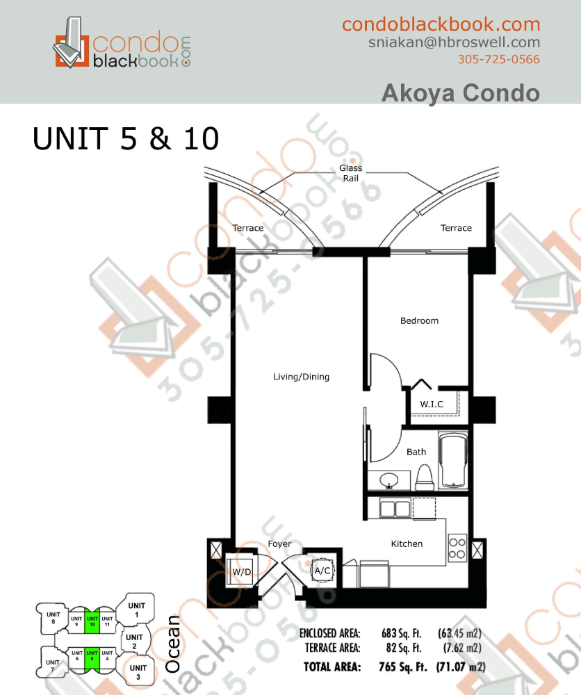 Floor plan for Akoya North Beach Miami Beach, model D, line 05, 10, 1/1 bedrooms, 683 sq ft