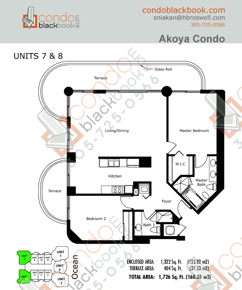 Floor plan for Akoya North Beach Miami Beach, model E, line 07, 08, 2/2 bedrooms, 1322 sq ft