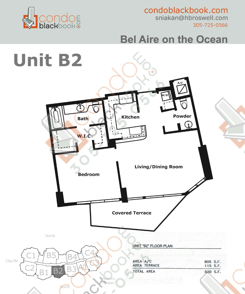 Floor plan for Bel Aire on the Ocean North Beach Miami Beach, model B2, line 06, 1/1.5 bedrooms, 805 sq ft