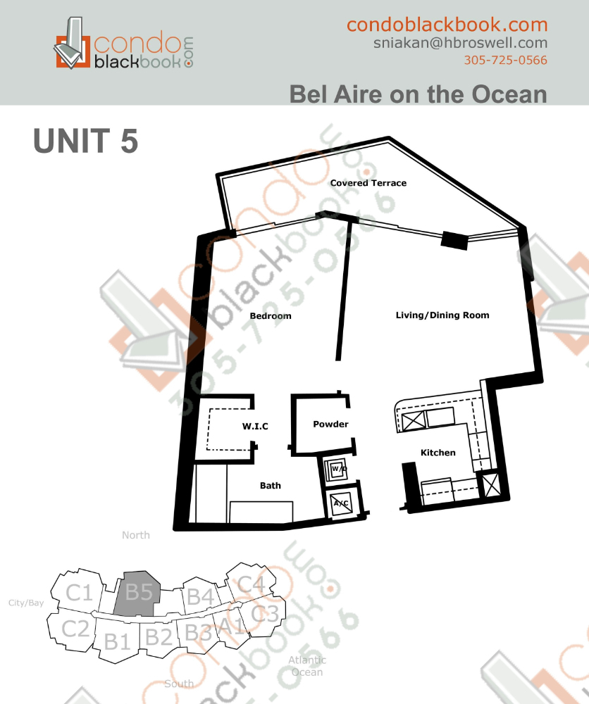 Floor plan for Bel Aire on the Ocean North Beach Miami Beach, model B5, line 10, 1/1 + powder room bedrooms, 881 sq ft