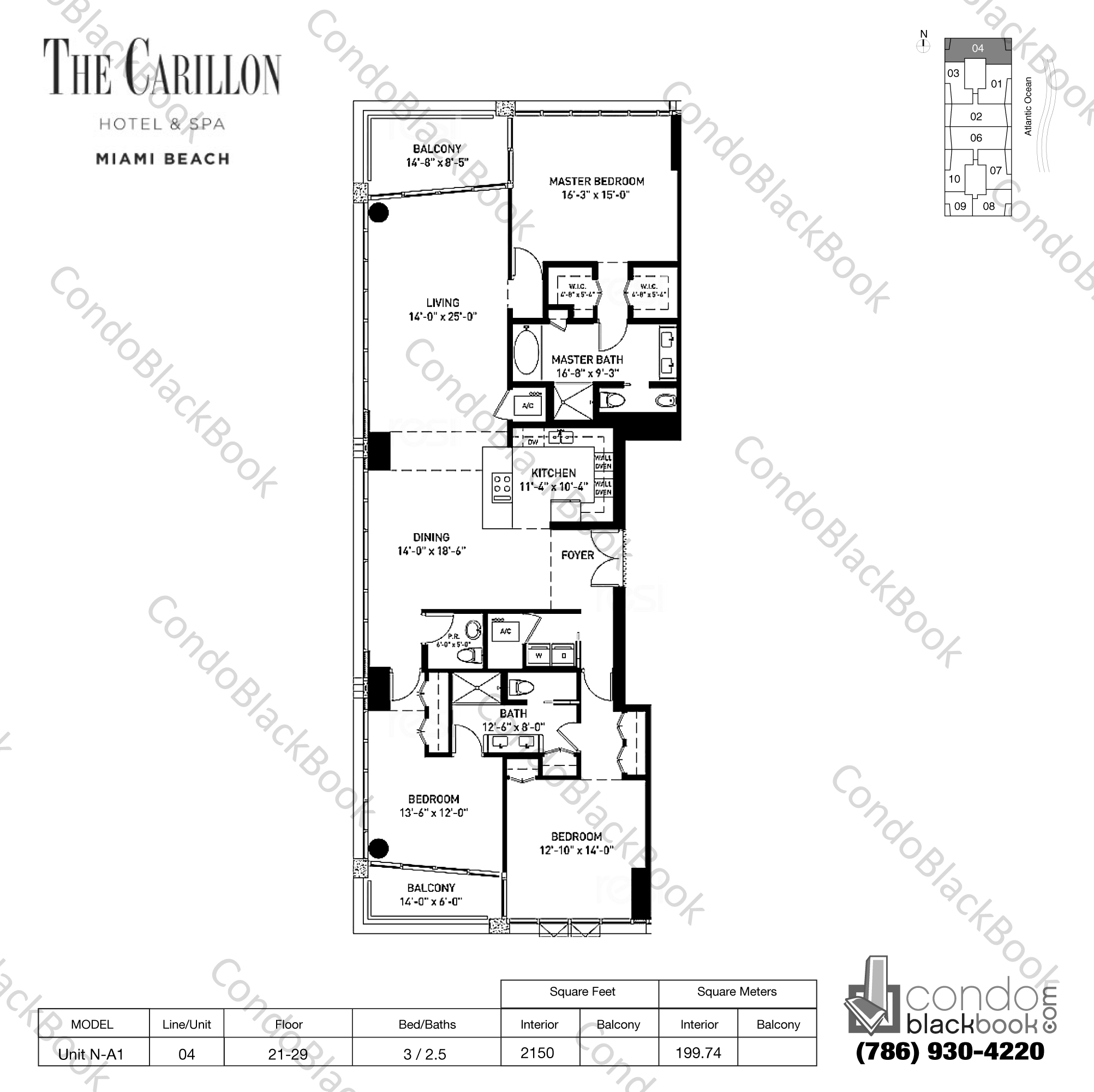 Floor plan for Carillon Condo North Tower North Beach Miami Beach, model Unit N-A1, line 04, 3 / 2.5 bedrooms, 2150 sq ft