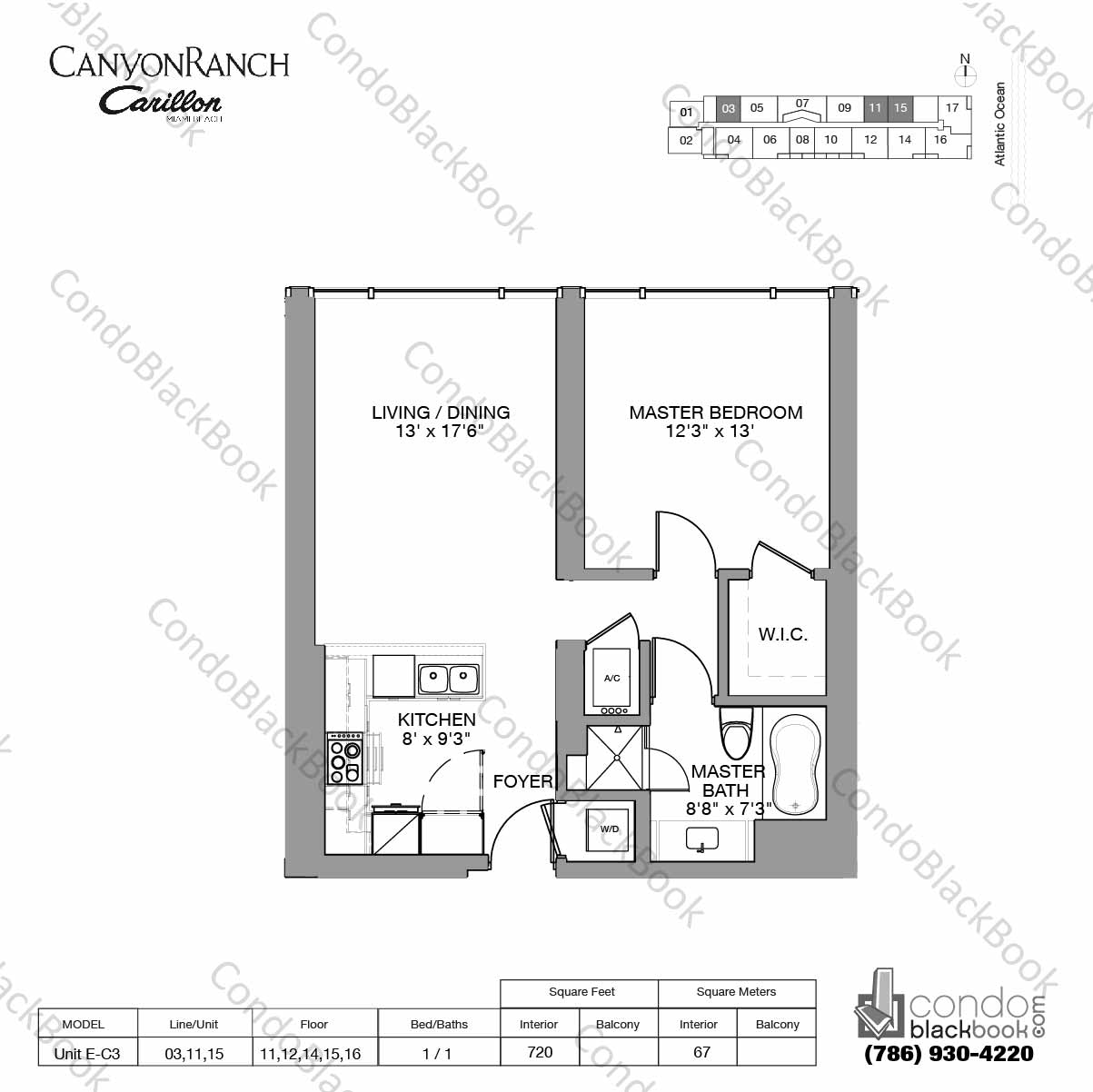 Floor plan for Carillon Miami Resort & Condo North Beach Miami Beach, model Unit E-C3, line 03,11,15, 1 / 1 bedrooms, 720 sq ft
